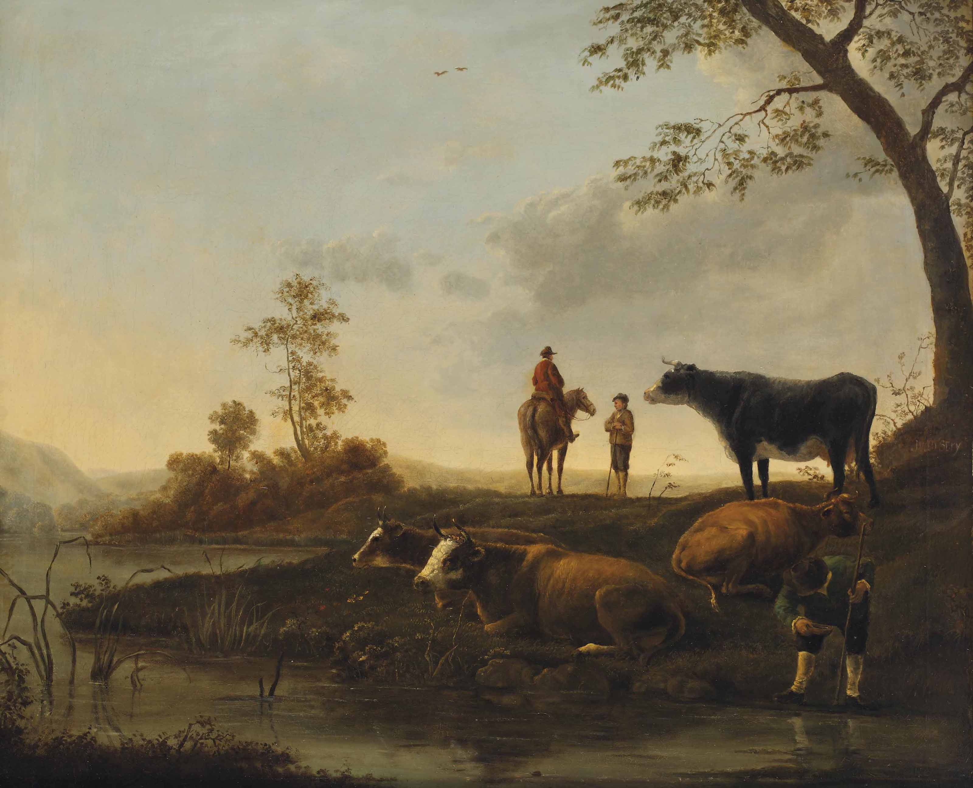 Herdsmen and their cattle on a river bank