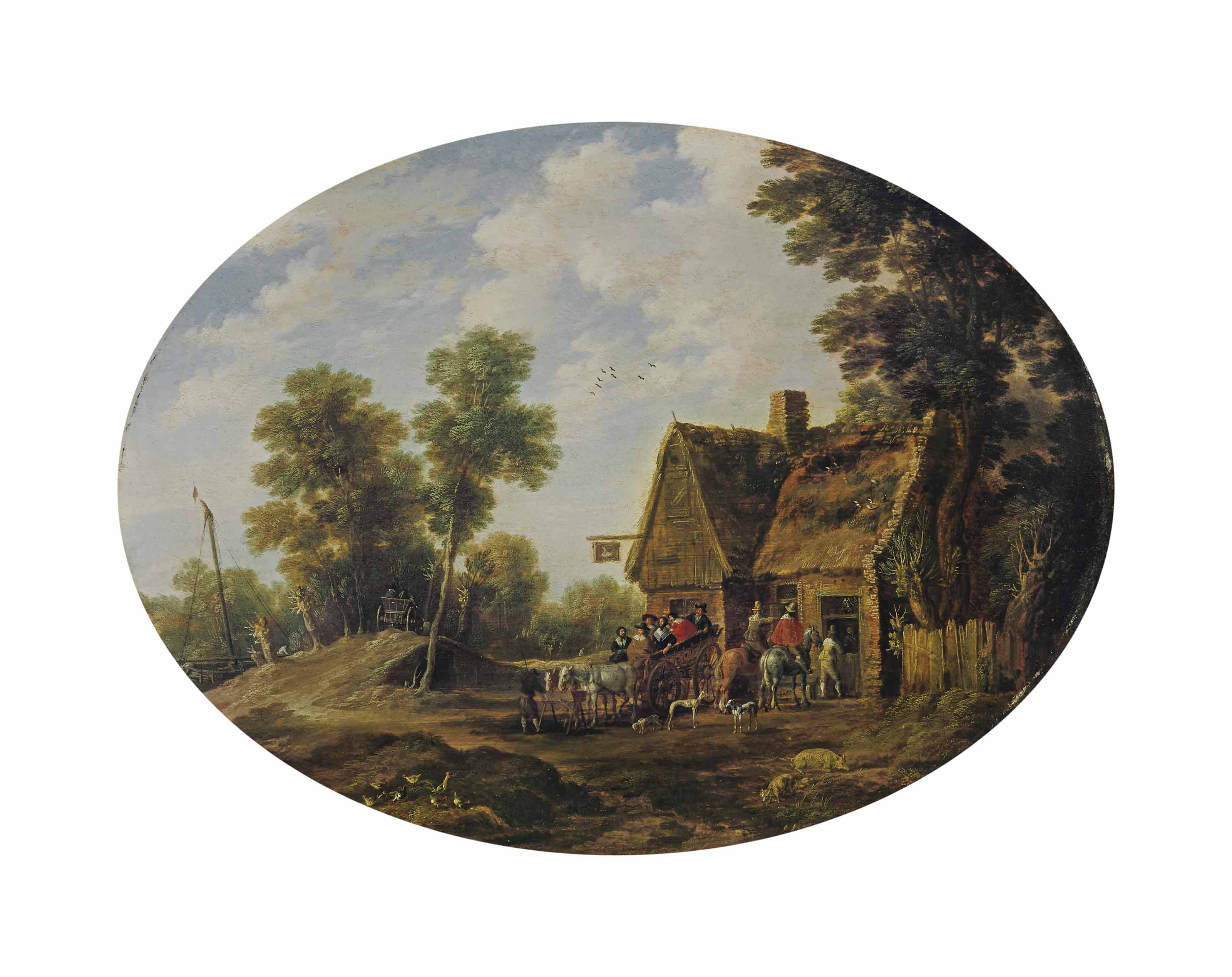 A wooded landscape with travellers halting by an inn