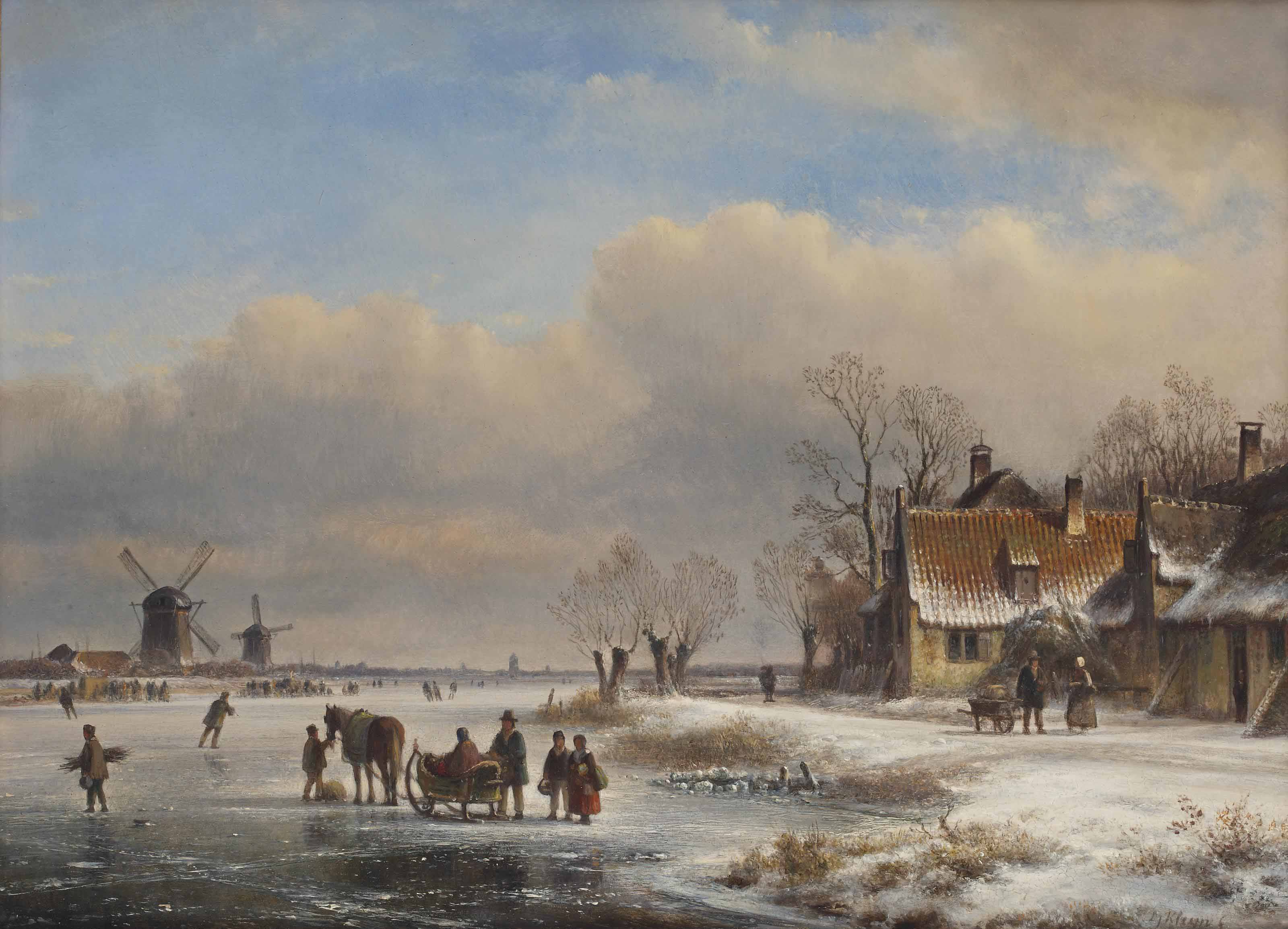 Figures and a sleigh on the ice