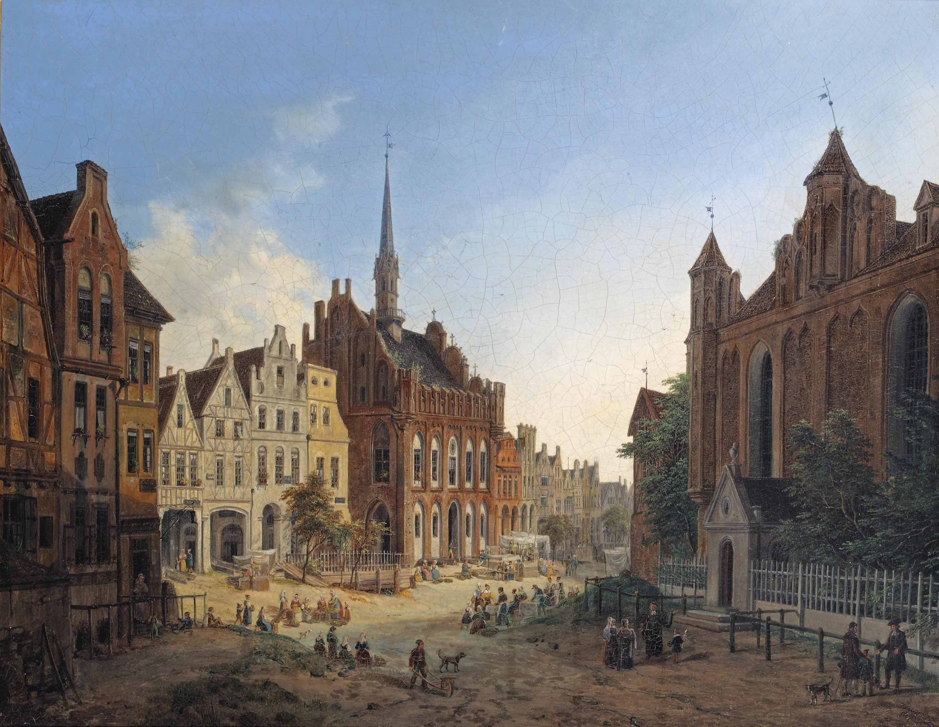 Daily activities on a square with the old Town Hall, Marienburg