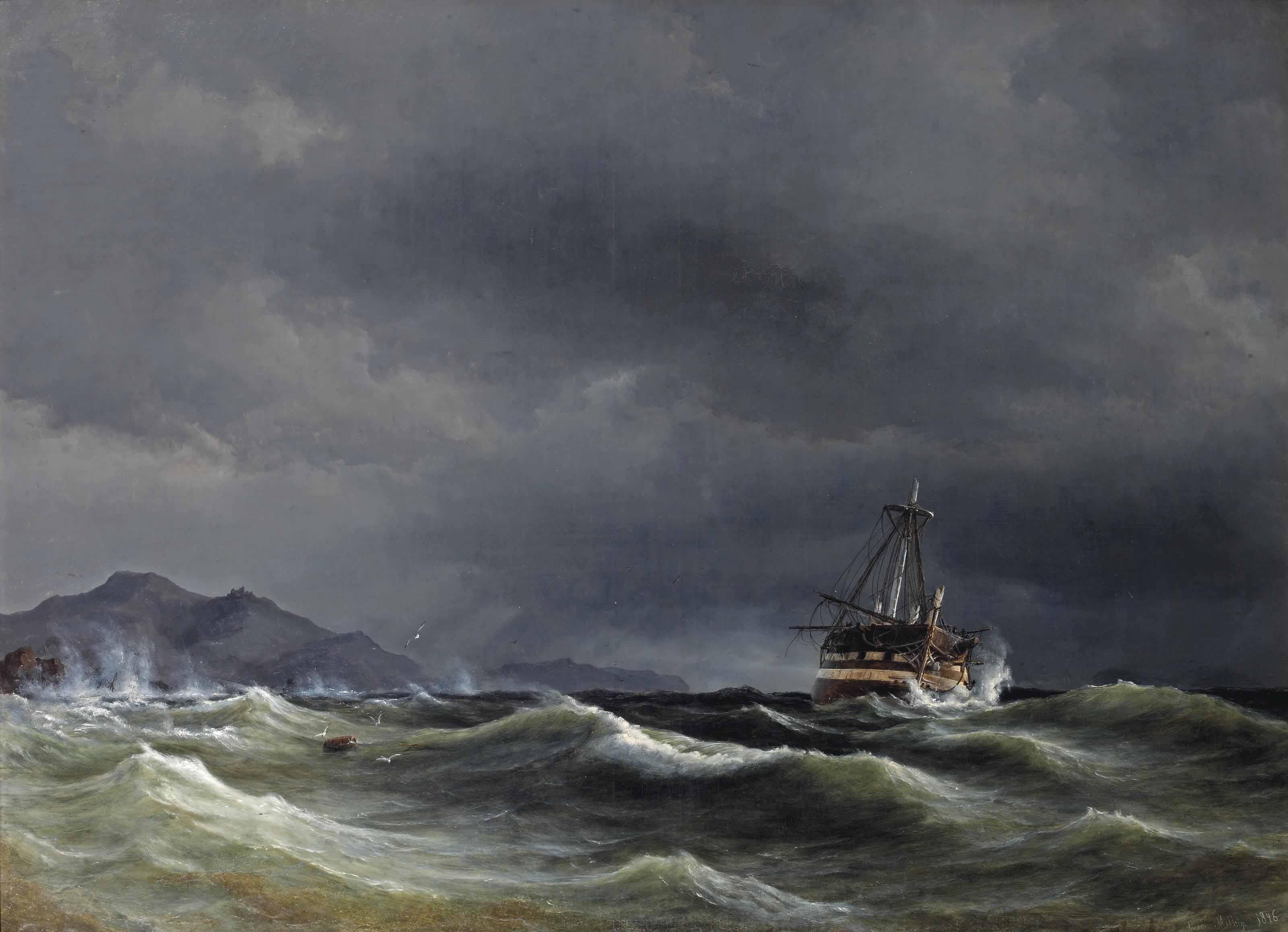 A sailing vessel in rough sea