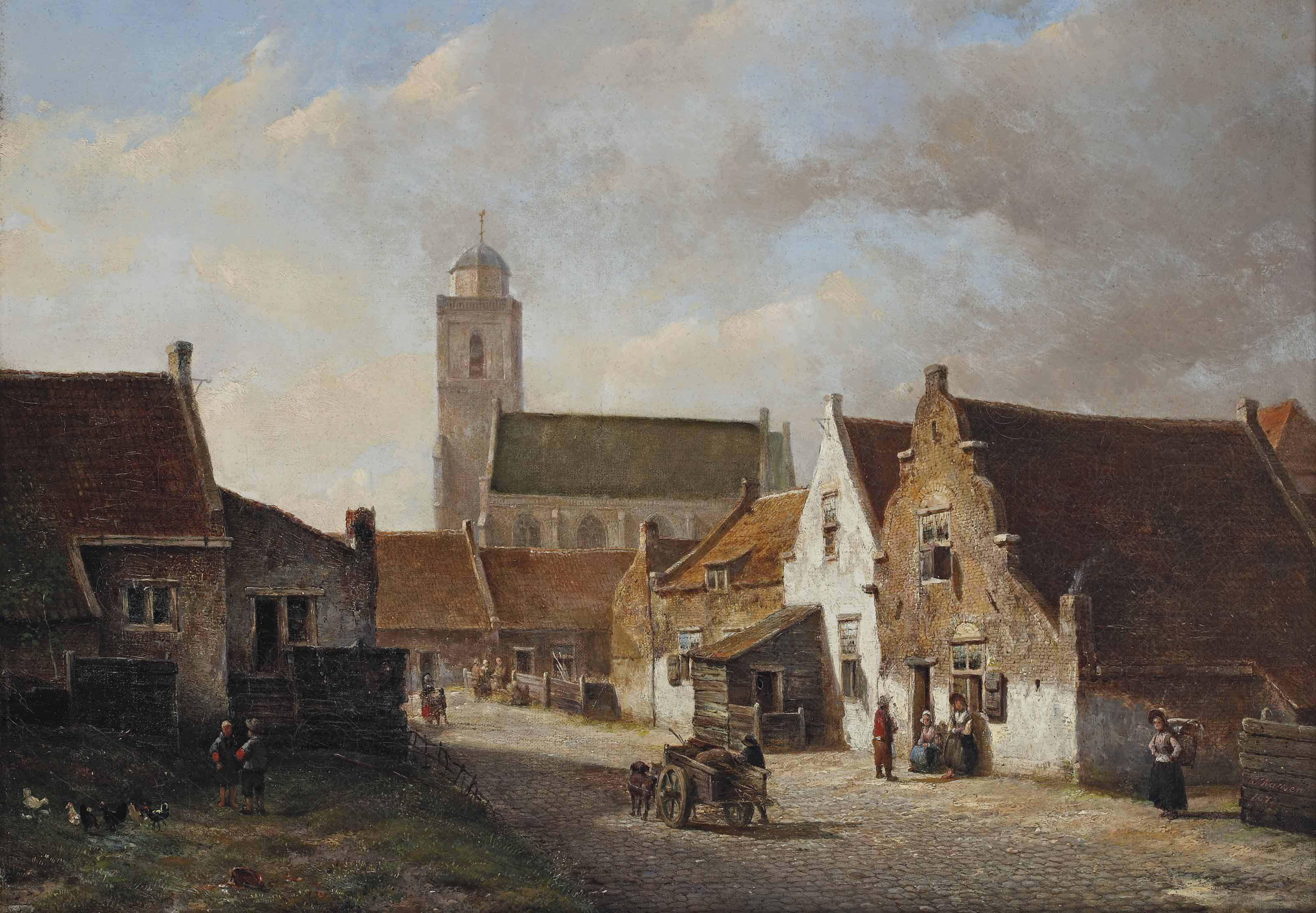 A view of the Kerksteeg with the Oude Kerk, Katwijk