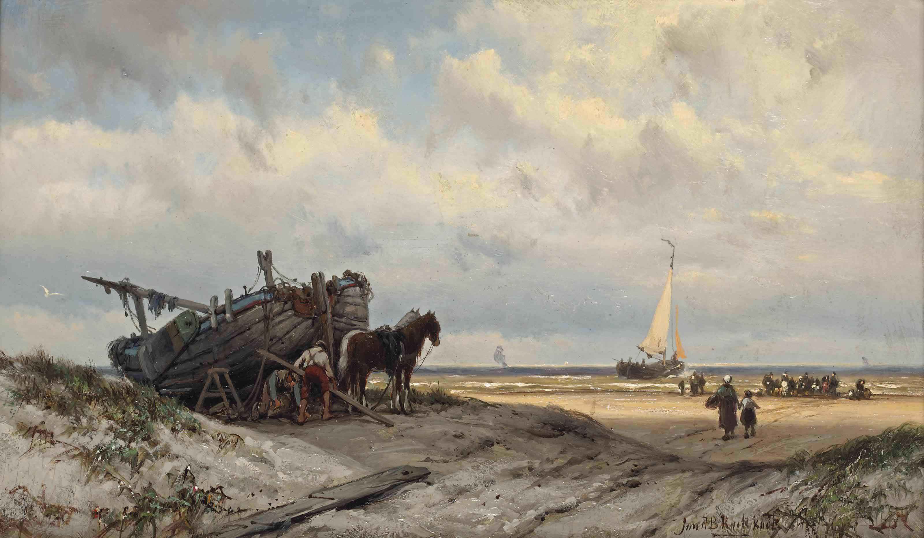Repairing the vessel in the dunes