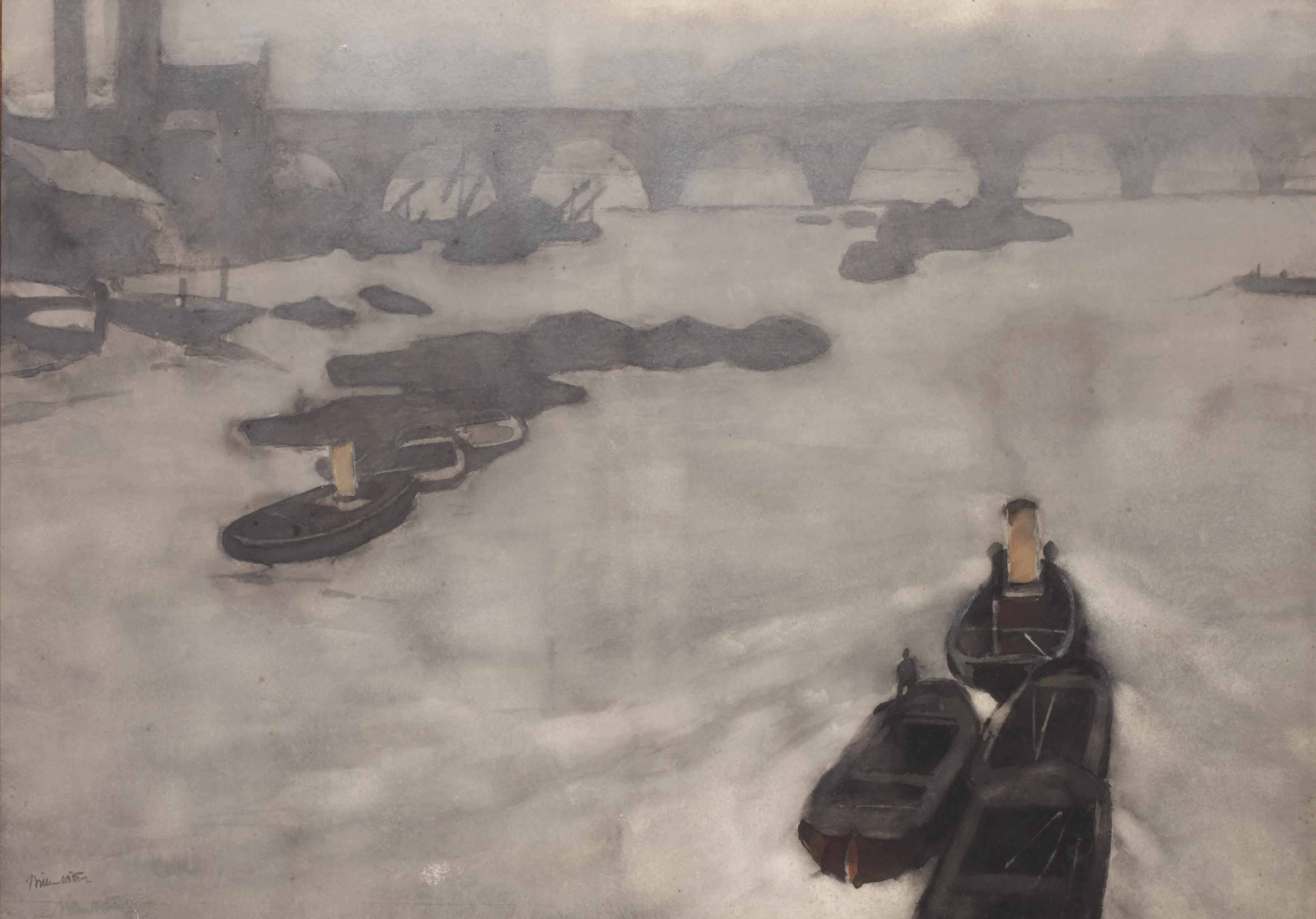 Boats on the Thames in the fog, London