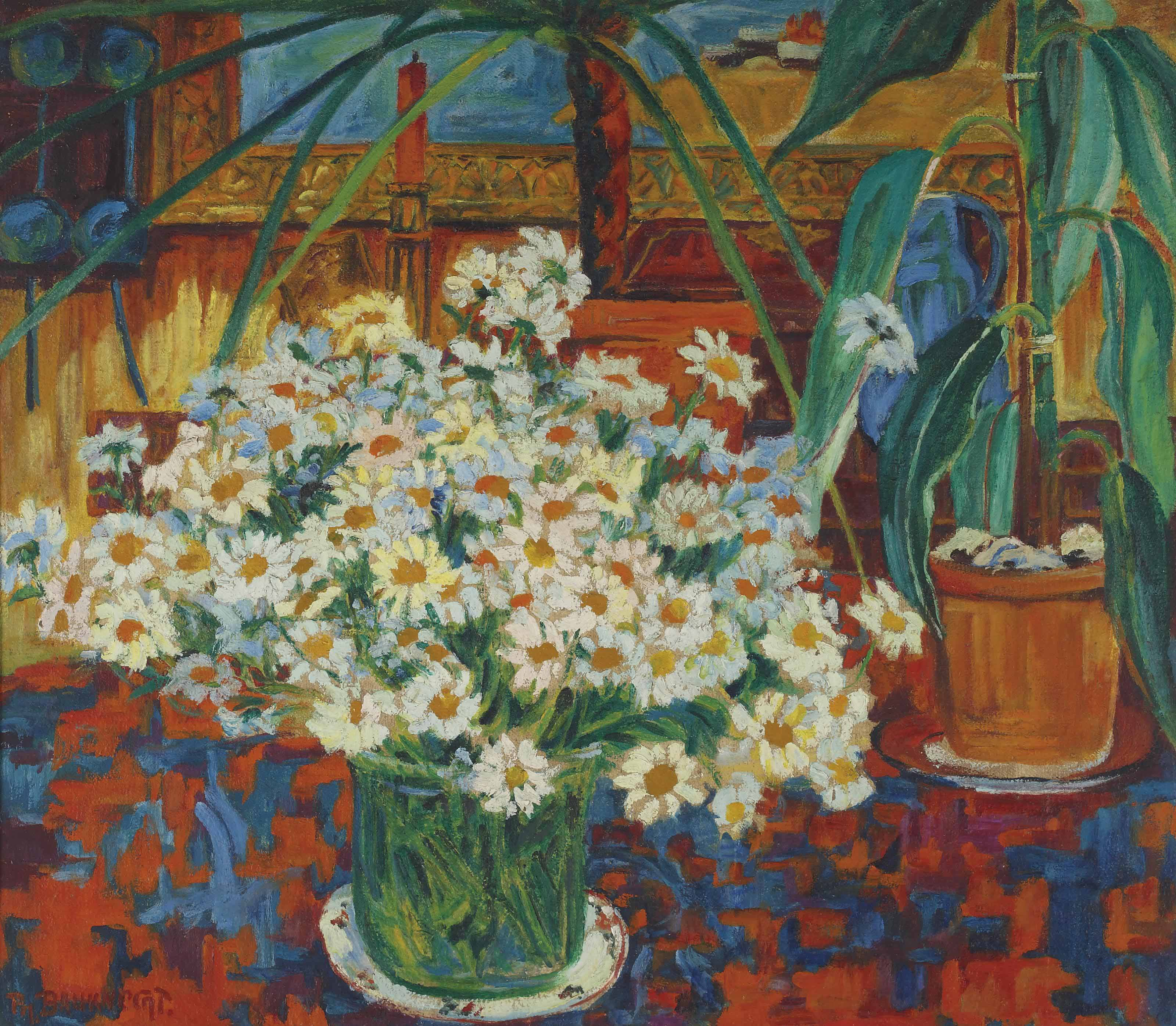 Still life with flowers in an interior