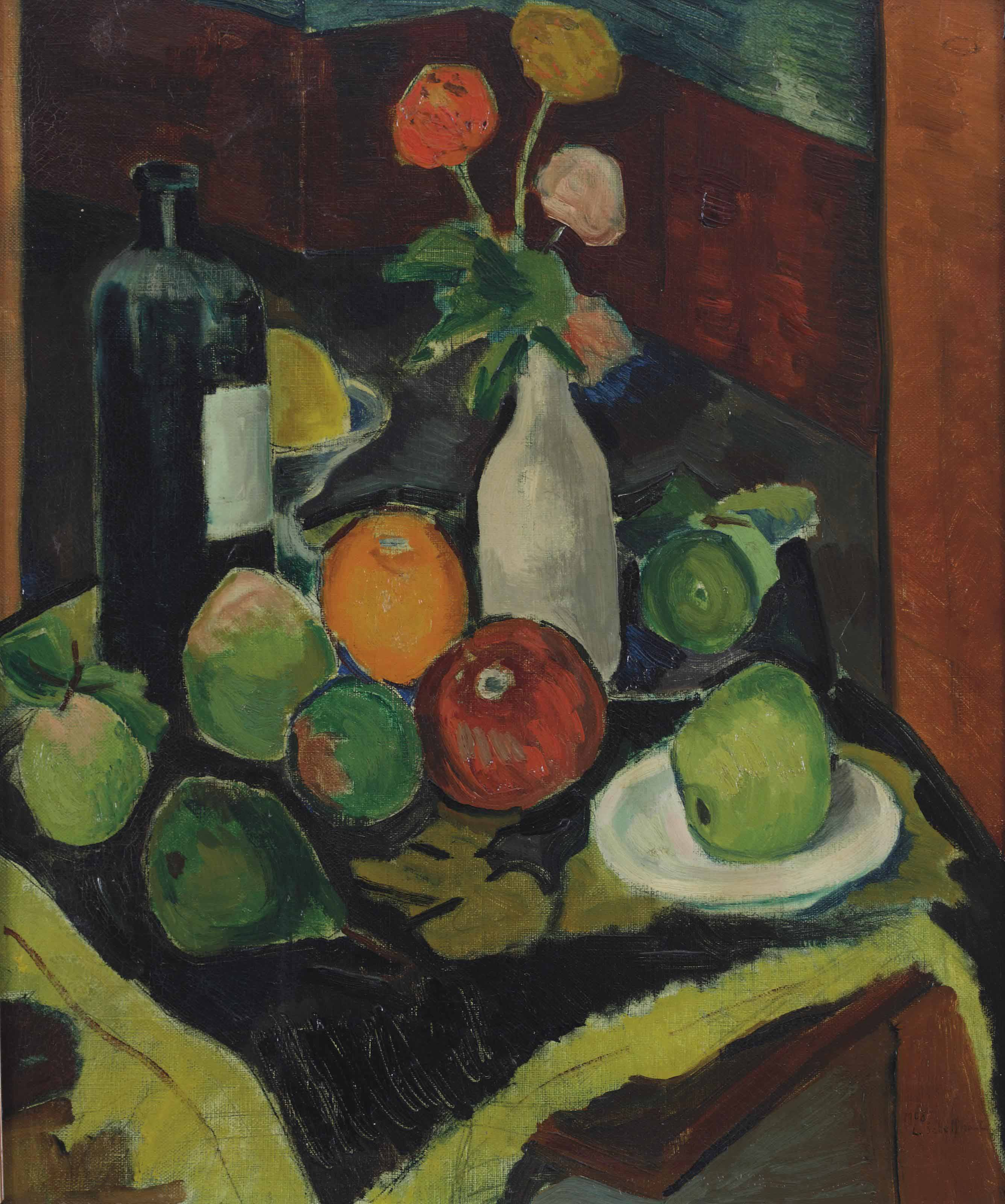 A still life with fruits, flowers and a bottle