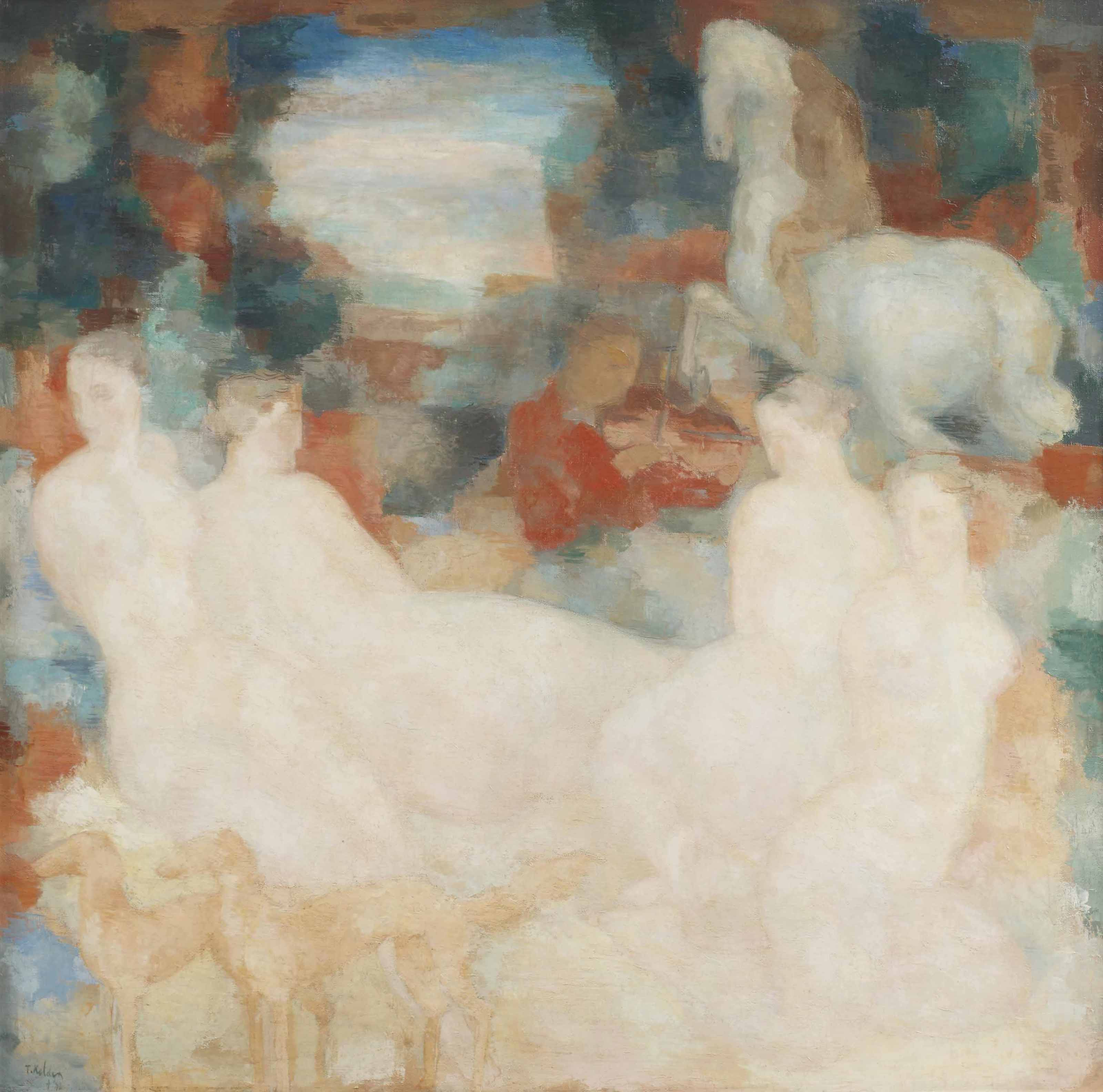 Four nudes, a violin player and horses