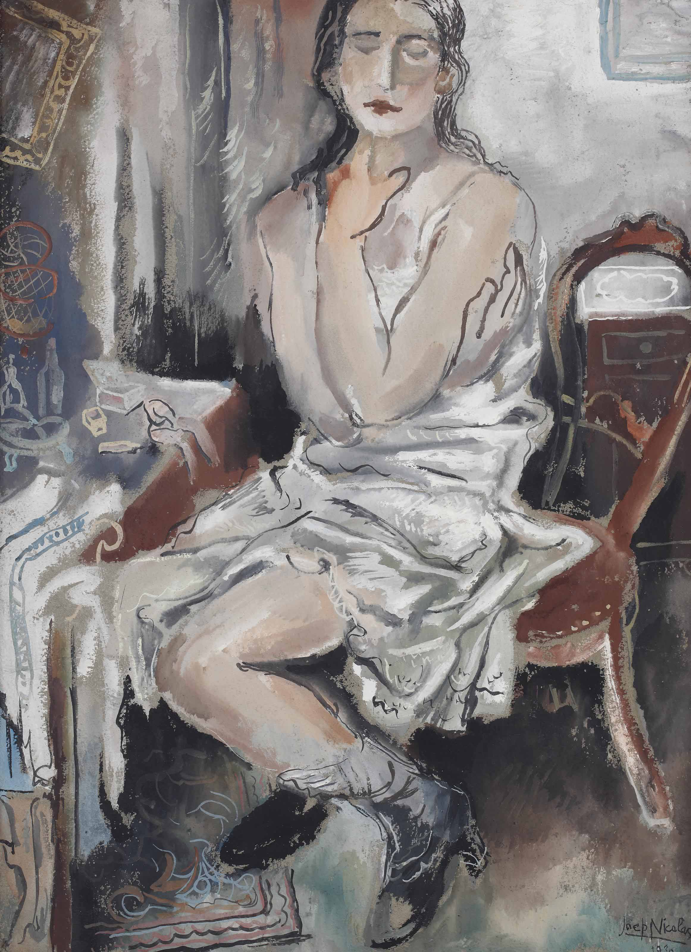 A seated woman