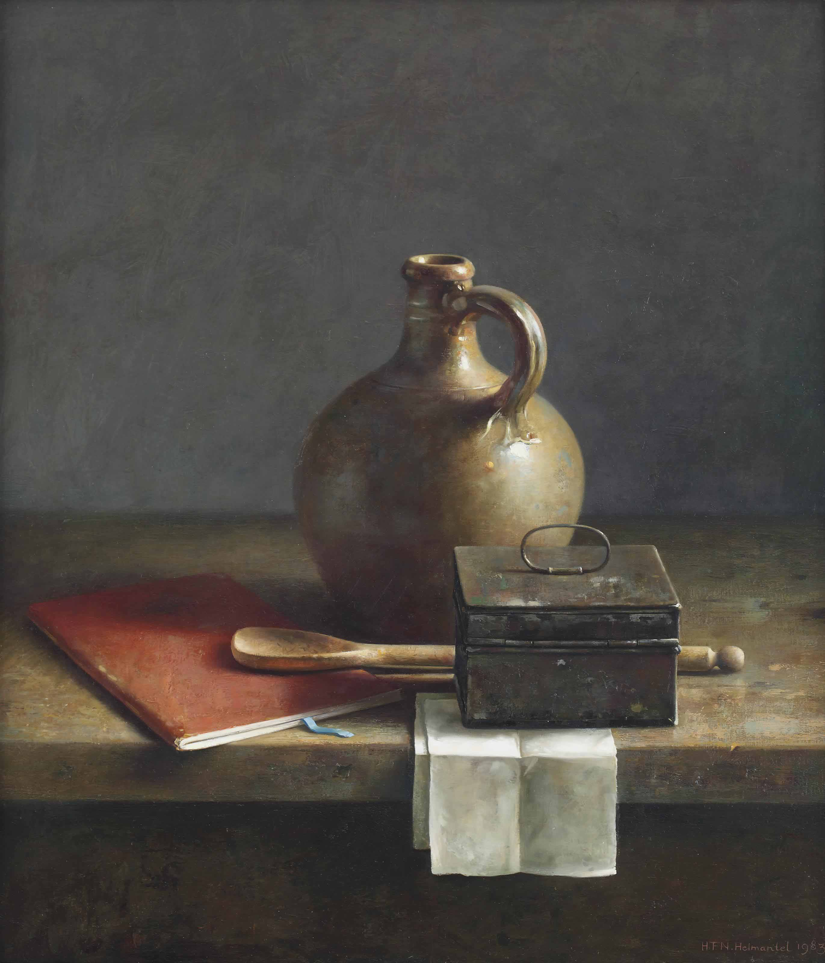 A still life with a jug, a box and a red book