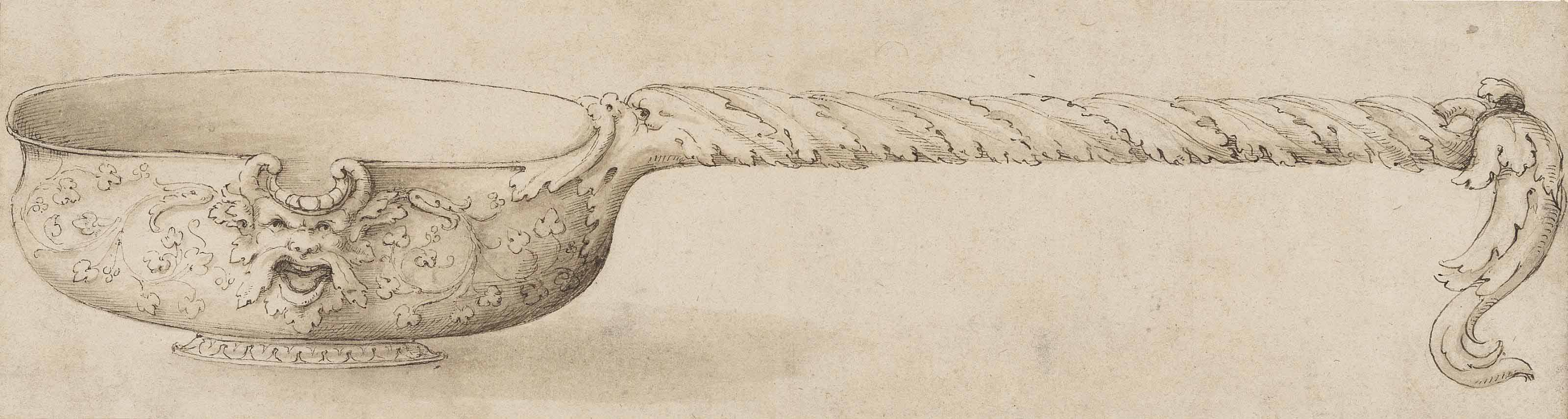 Design for a pouring vessel, with a grotesque mask beneath the lip, on a short-spreading foot