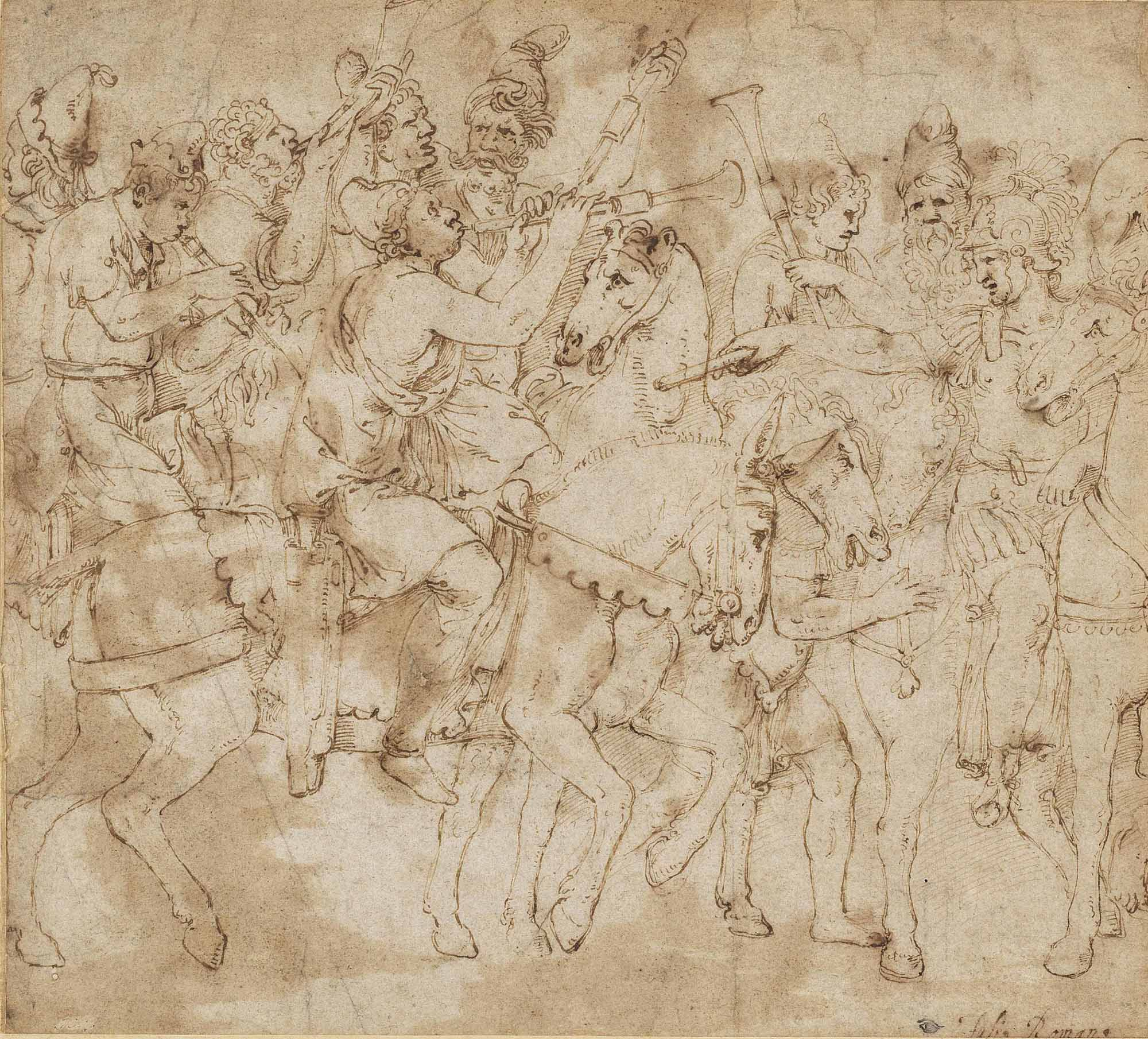 A Roman Officer with mounted musicians, one on an ass