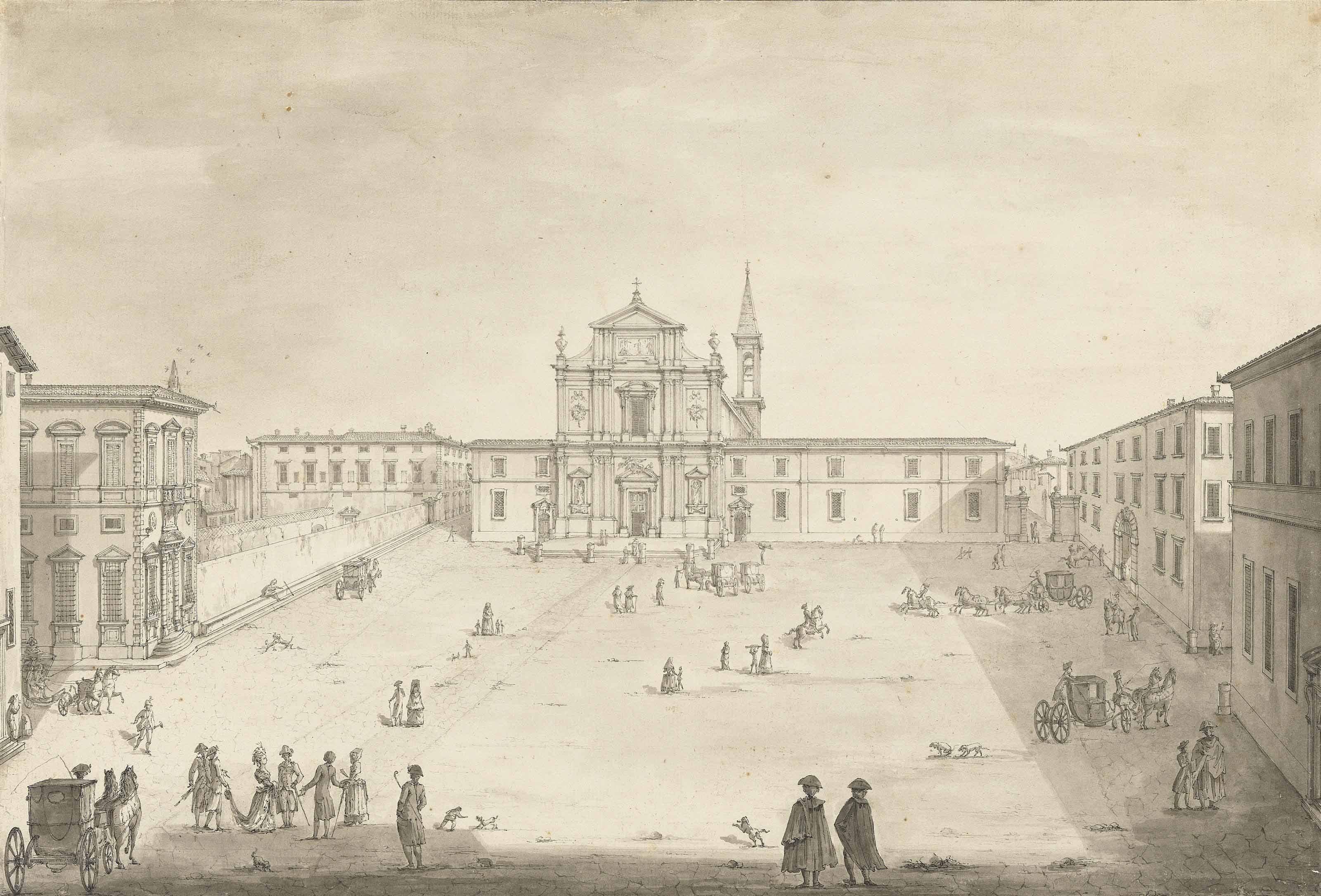 A view of the Piazza San Marco, in Florence with, from the left to the right, the Casino della Livia, the Casino Mediceo, the Convent of San Marco, the Giardino dei Semplici and the Accademia di belle arti