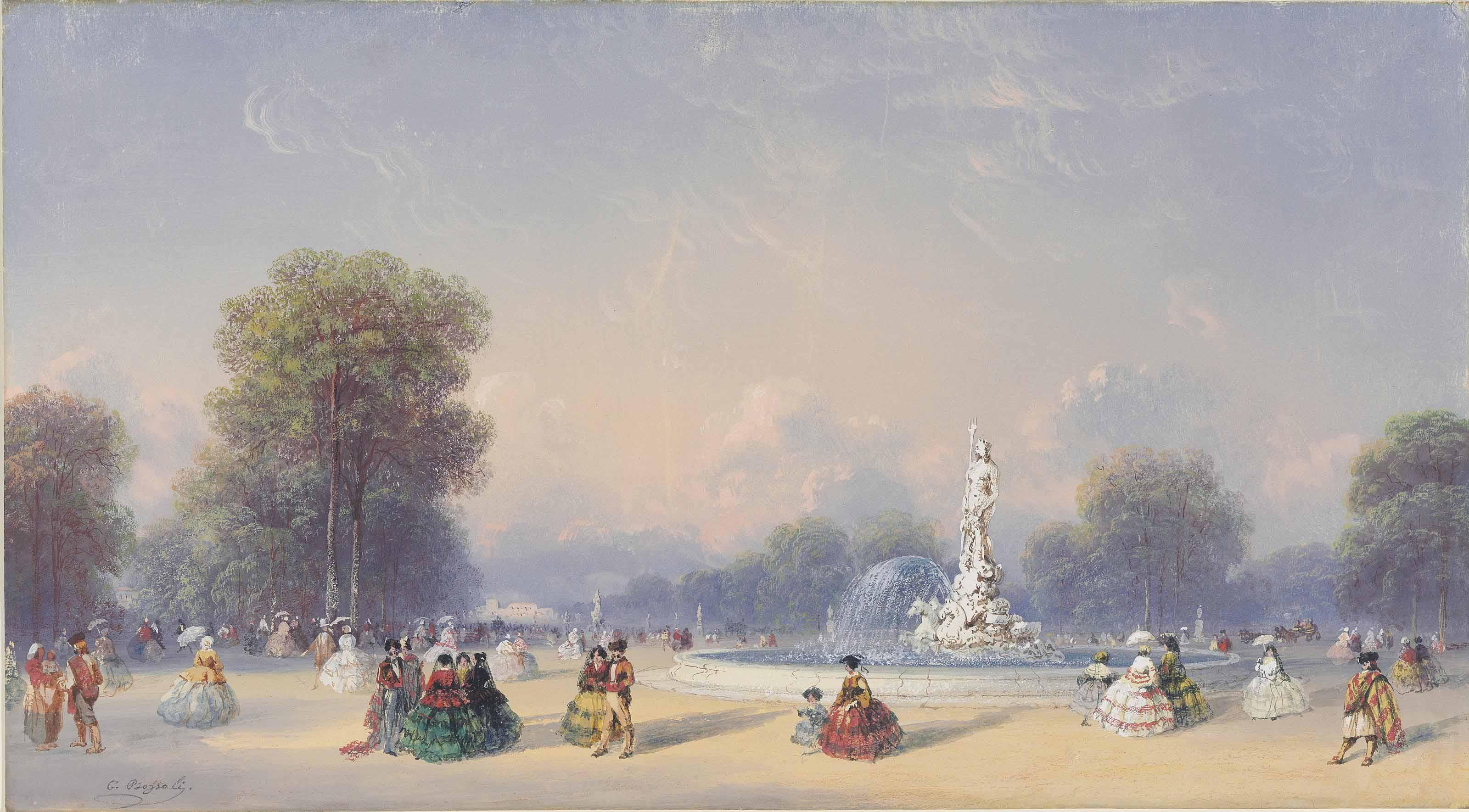 The Neptune fountain and the Paseo del Prado, Madrid