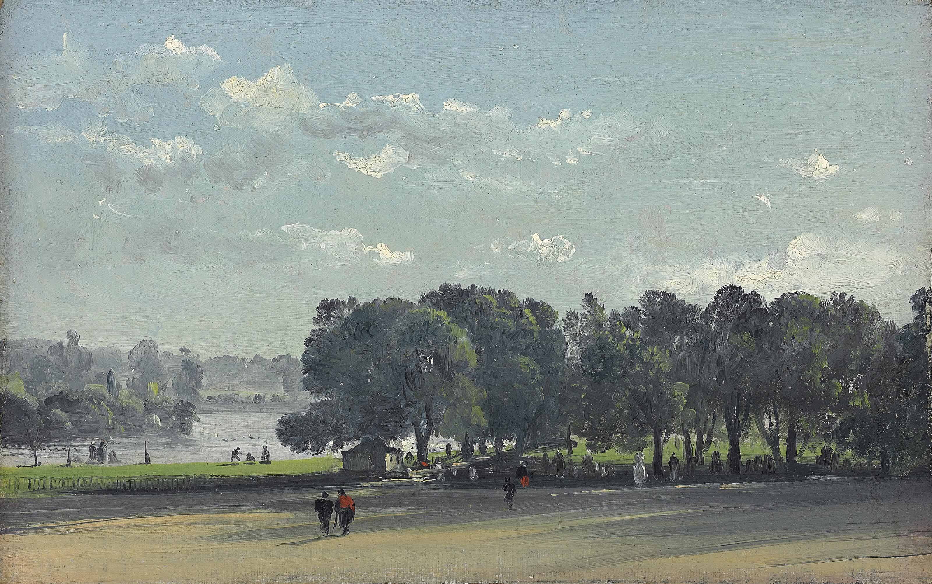 View in a park on a summer's day, possibly St. James's Park, London