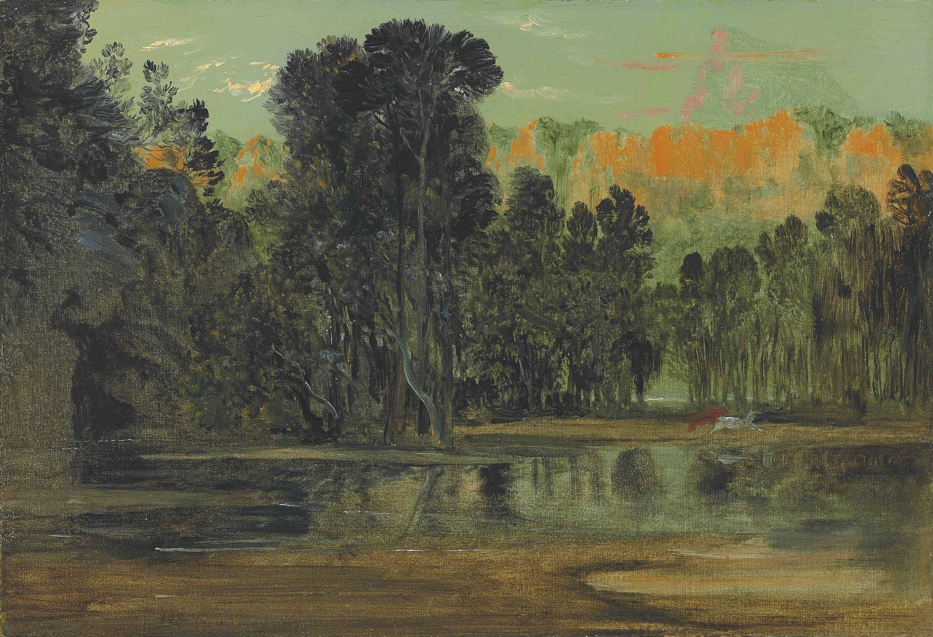 A wooded landscape at sunset