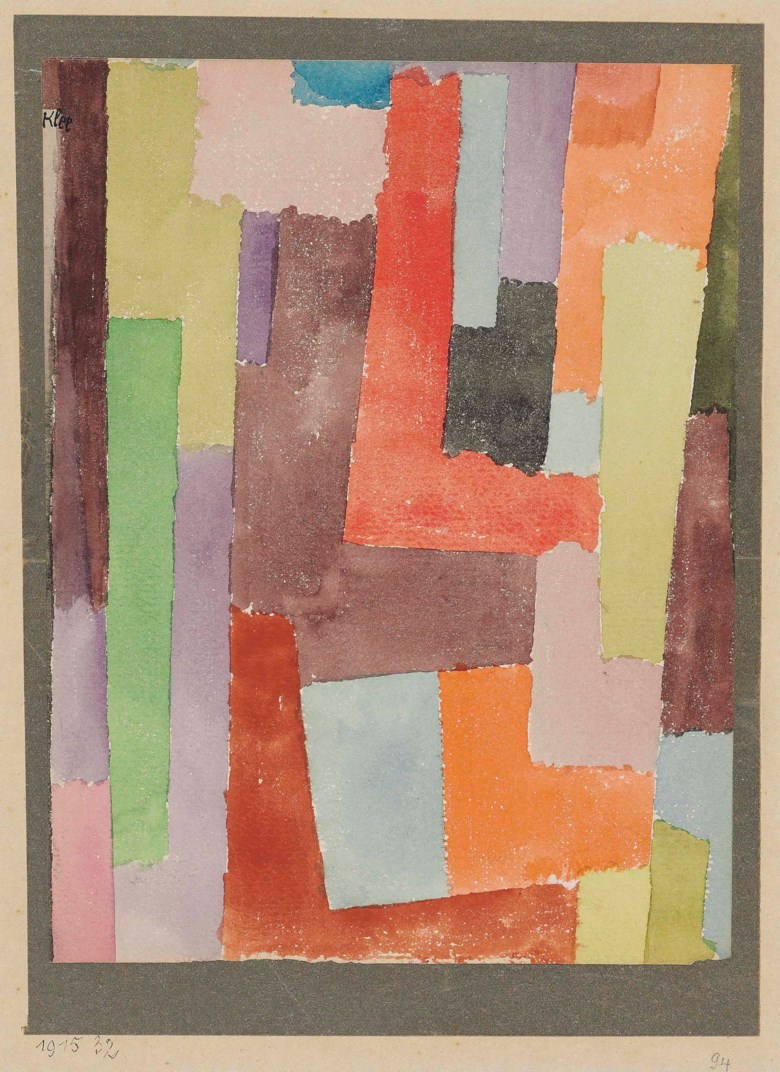 Paul Klee (1879-1940), Rechte Winkel, 4 Seitiger Silberrand (Right Angles, Silver Border on 4 sides), 1915. Artist's mount 12 x 9¼  in (30.3 x 23.5  cm). Sold for £170,500 on 3 February 2016  at Christie's in London