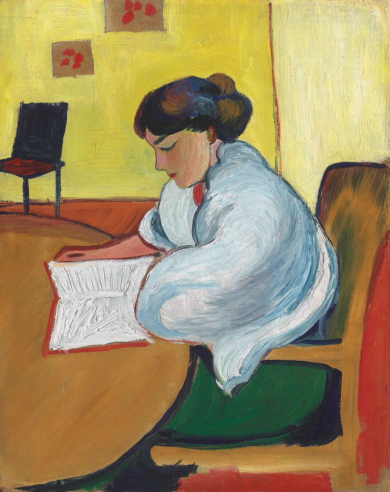 August Macke (1887-1914), Lesende Frau, 1913. 20¾ x 16½  in (52.8 x 41.8  cm). Sold for £422,500 on 3 February 2016  at Christie's in London