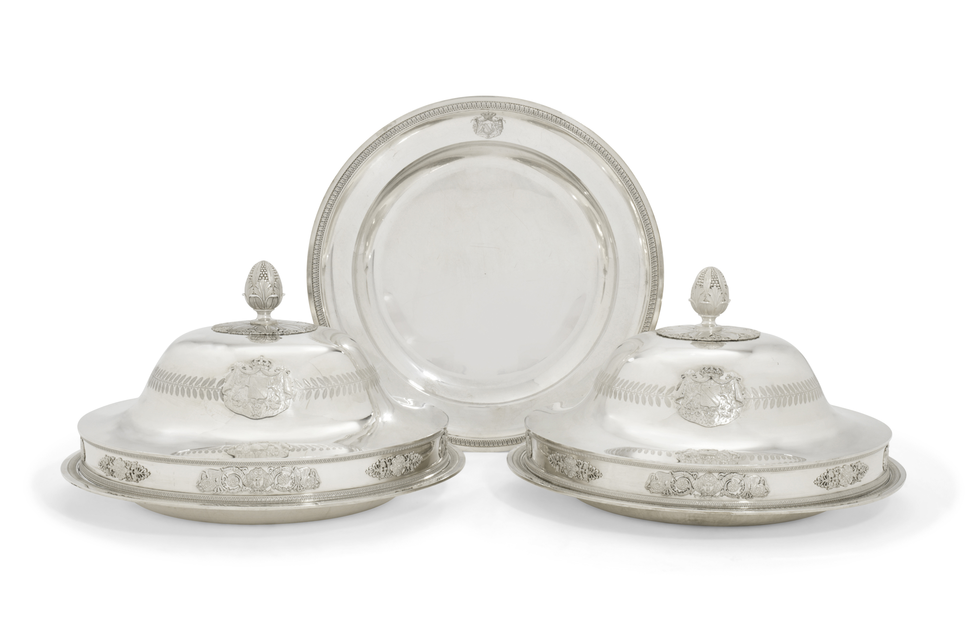 A PAIR OF FRENCH LARGE SILVER DISH-COVERS AND THREE DISHES