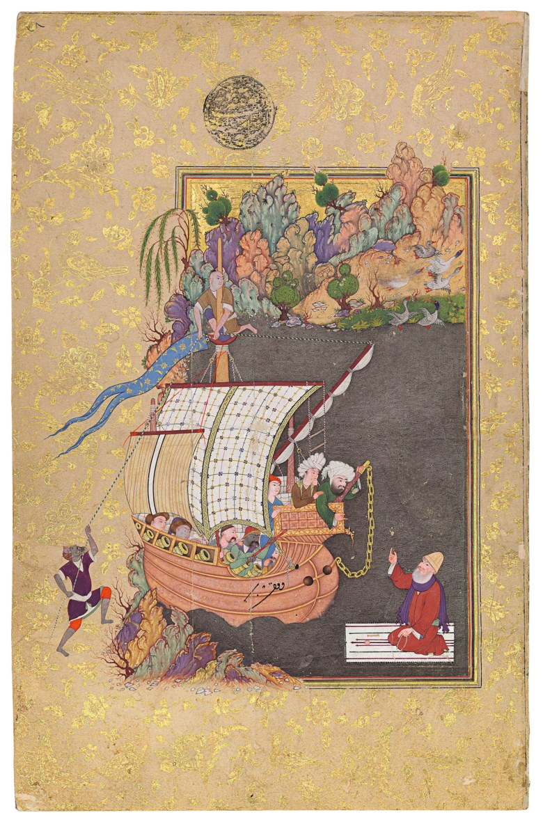 The impoverished Dervish of Faryab crosses the river on his prayer mat, the painting Safavid Isfahan, circa 1600, the calligraphy by Ali al-Husayni al-Katib, Timurid Herat, circa 1526. Text panel 7⅜ x 4¼ in (18.7 x 10.8 cm); folio 11⅜ x 7⅜ in (28.5 x 18.5 cm). Sold for £386,500 on 21 April 2016  at Christie's in London