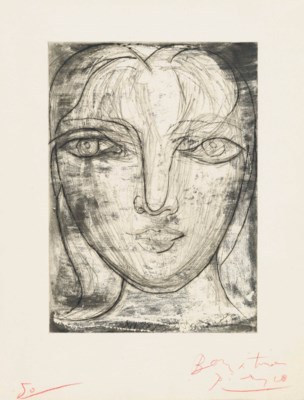 pablo picasso tete de face portrait de marie therese de face  lot 114