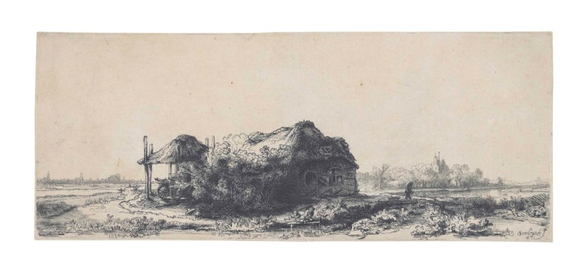 rembrandt harmensz van rijn landscape cottages and a hay  lot 20