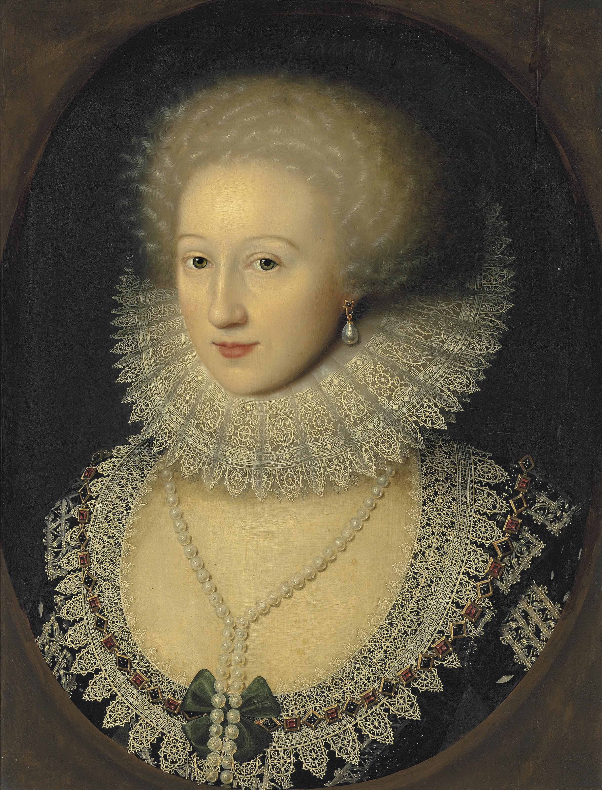 Portrait of a lady, bust-length, in a black dress with a reticella lace neckline and a cartwheel ruff, with a pearl necklace and earrings, in a feigned oval
