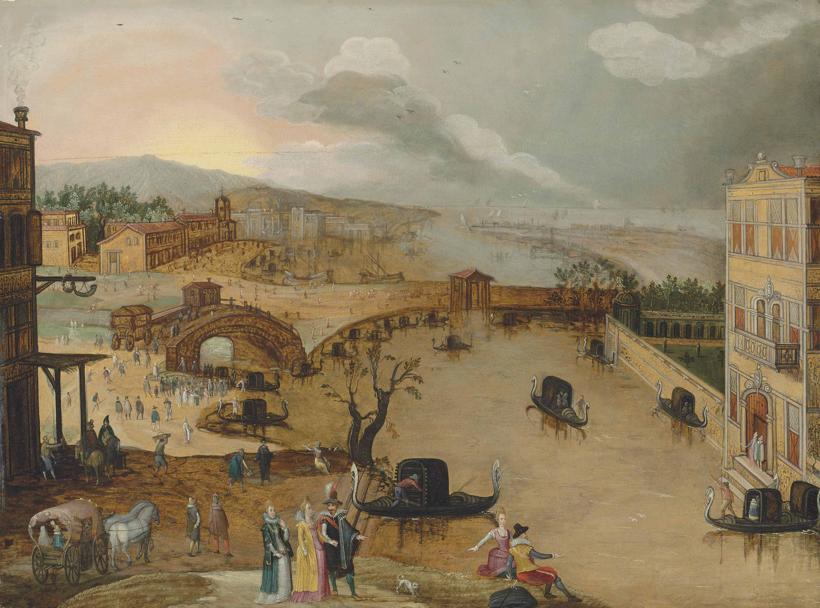 A Venetian capriccio with elegant figures promenading by a canal with gondolas, a mountain and seascape beyond