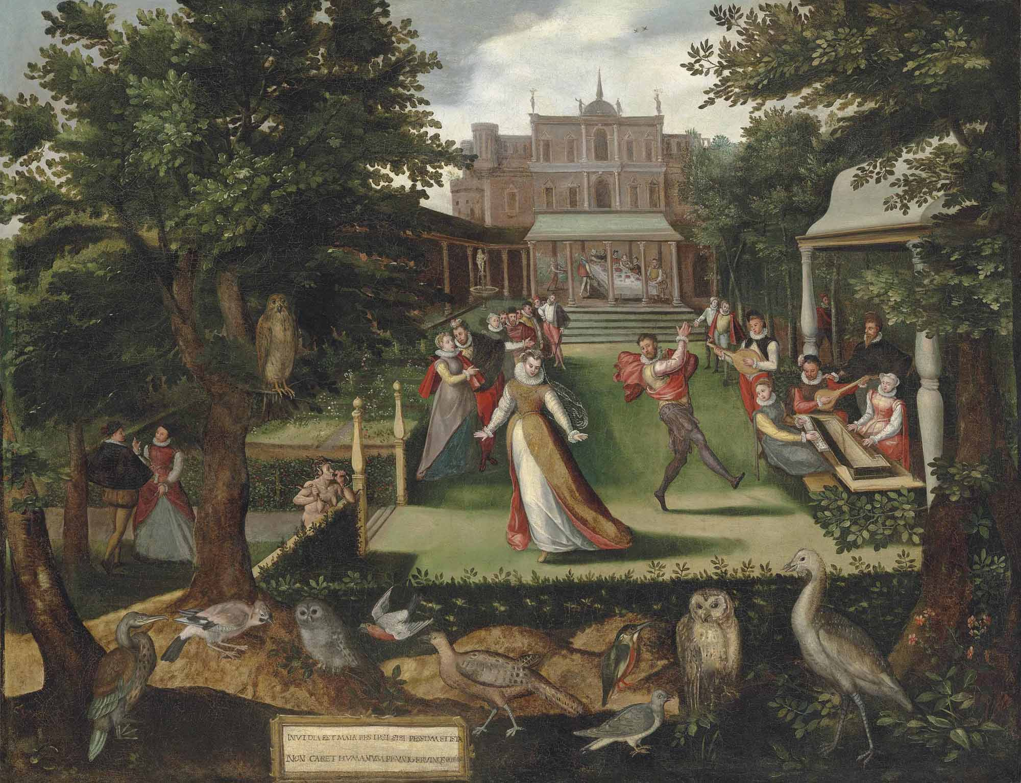 Elegantly dressed figures merrymaking in a garden