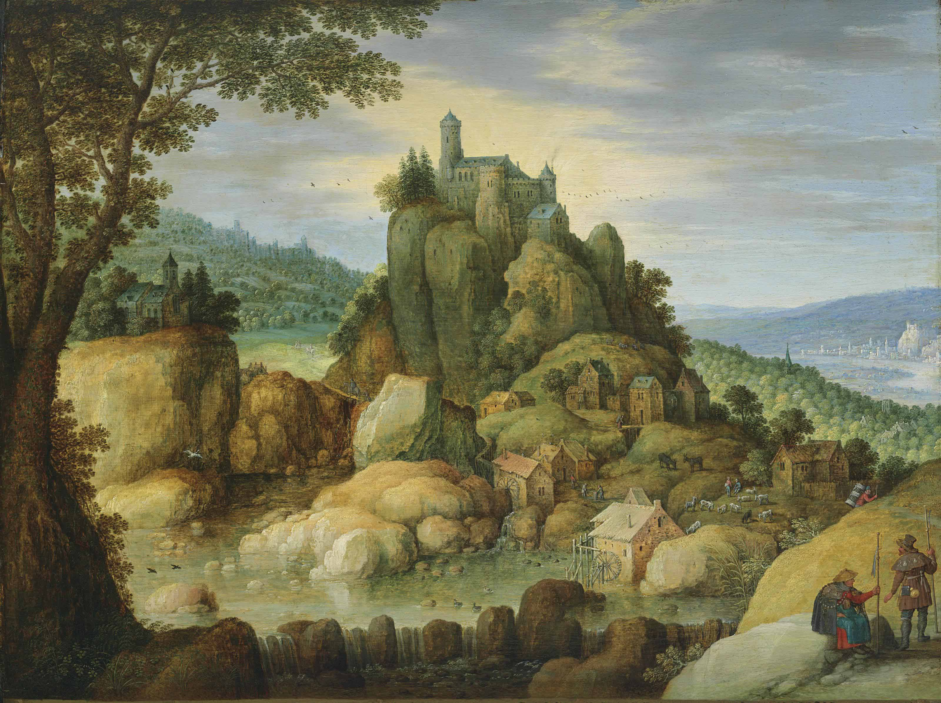 An extensive rocky river landscape with pilgrims on a path by a castle on a hill
