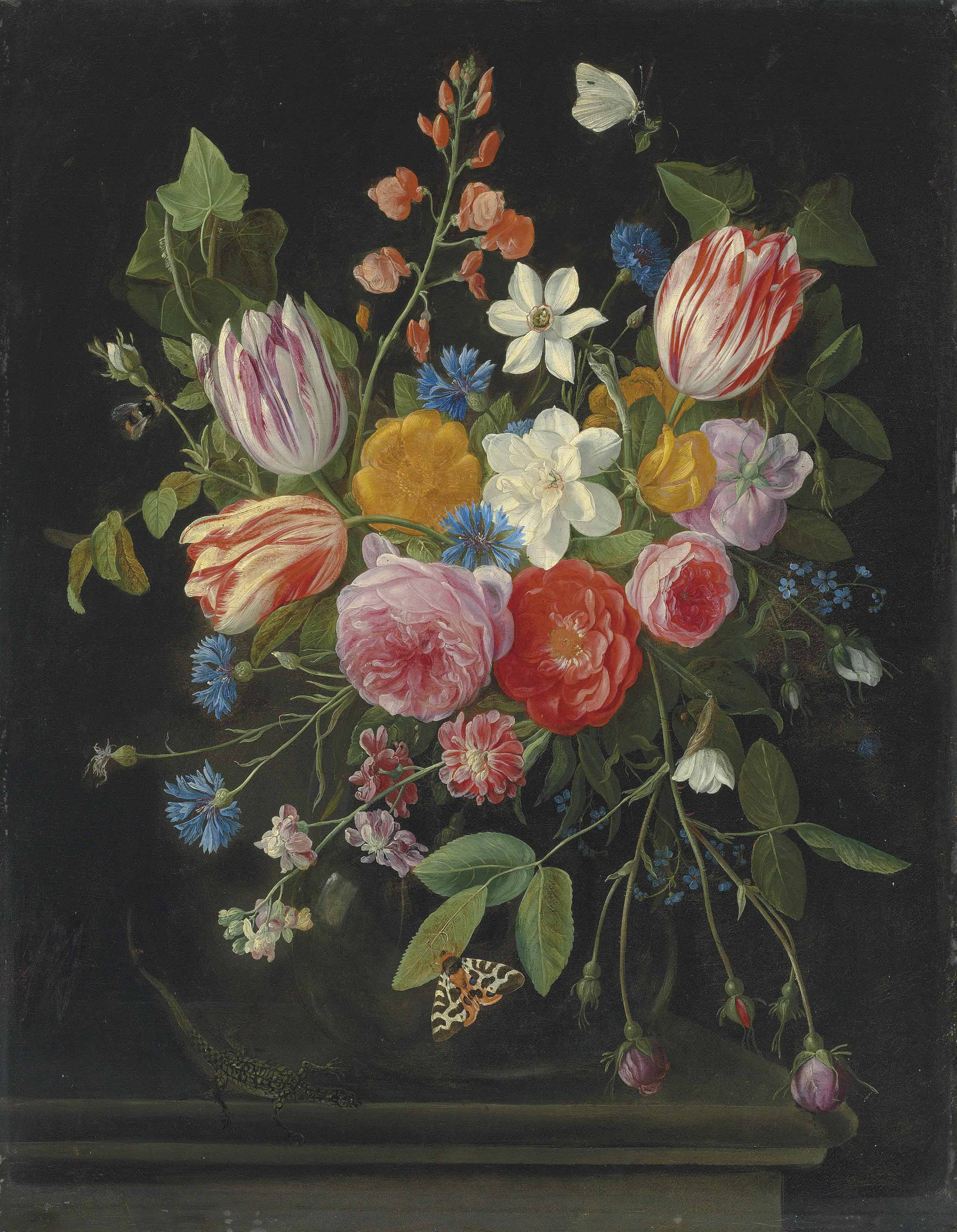 Tulips, peonies, chicory, carnations, cherry blossom and other flowers in a glass vase, with butterflies, a bee and a lizard on a ledge