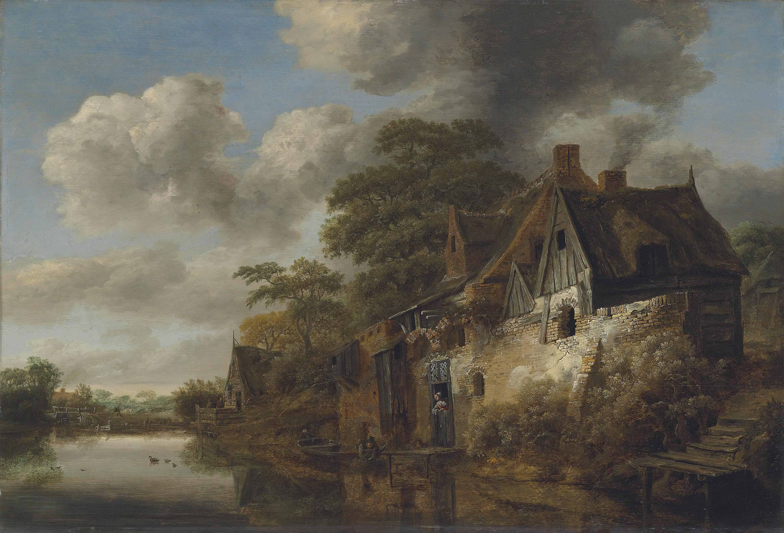 A river landscape with a woman at the door of a cottage and a fisherman bringing in his catch