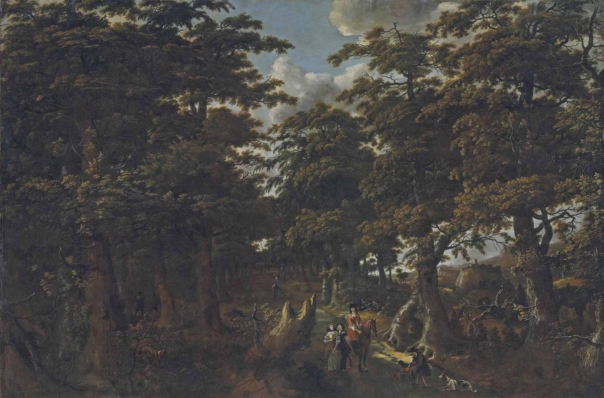 A wooded landscape with a gentleman on horseback, two elegantly dressed ladies and a huntsman with his dogs on a path