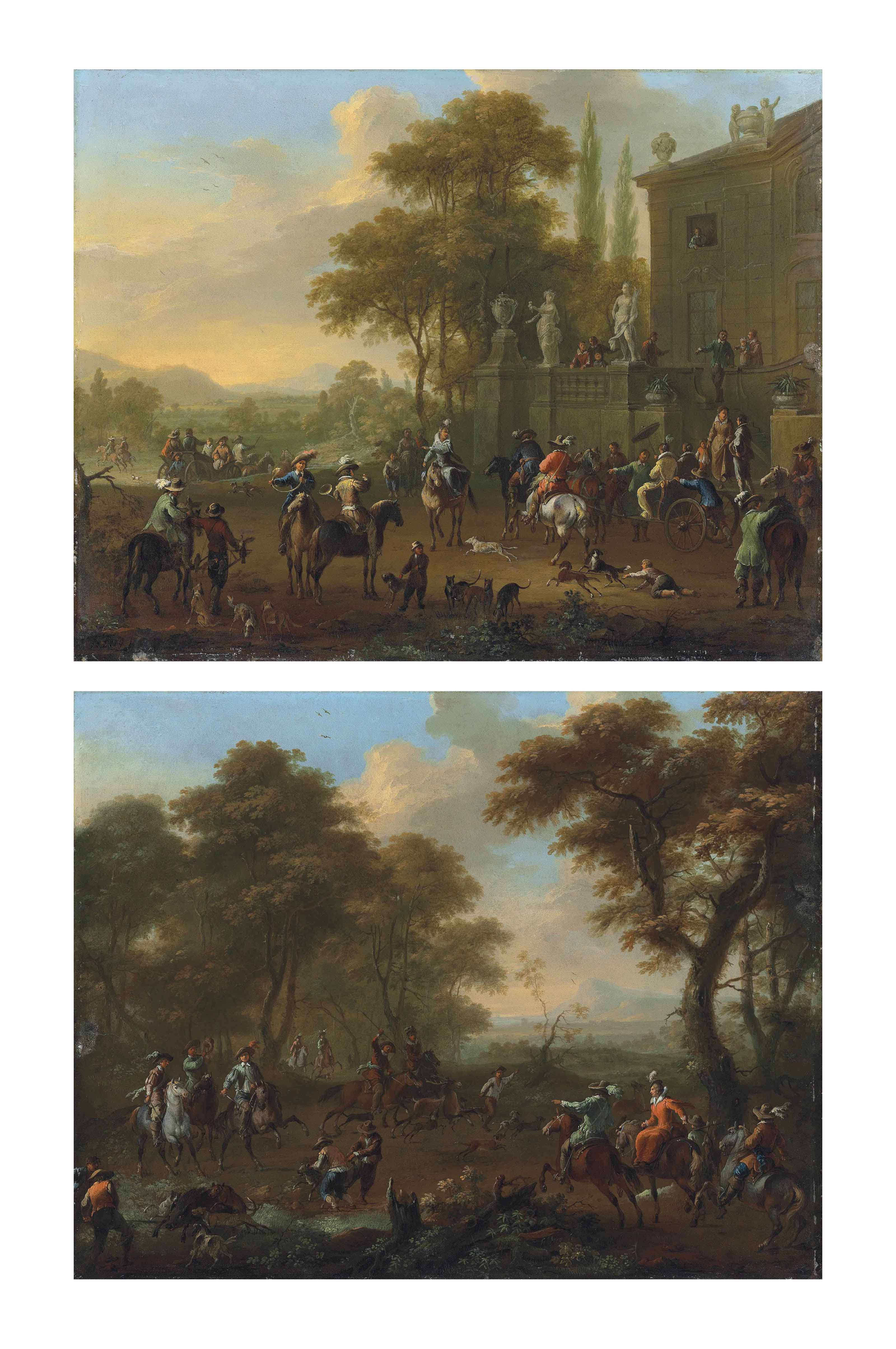 An elegant party at a country house, preparing to set out for the hunt; and An elegant hunting party capturing a stag and boar