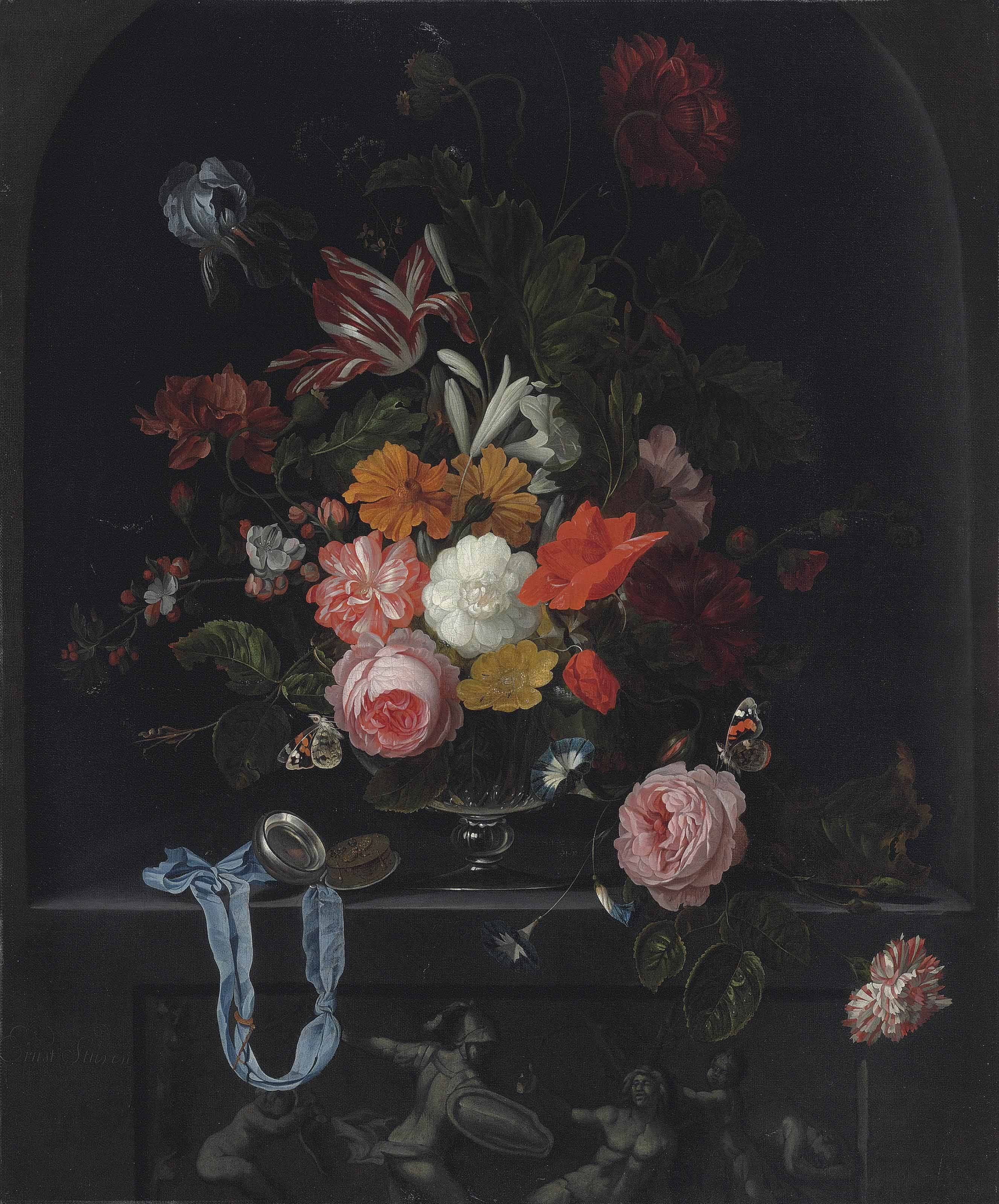 A Semper Augustus tulip, an iris, peonies, cherry blossoms, lilies, roses and other flowers in a glass vase, with butterflies and an open pocket watch on a blue ribbon, in a niche above a classical sculpted low relief