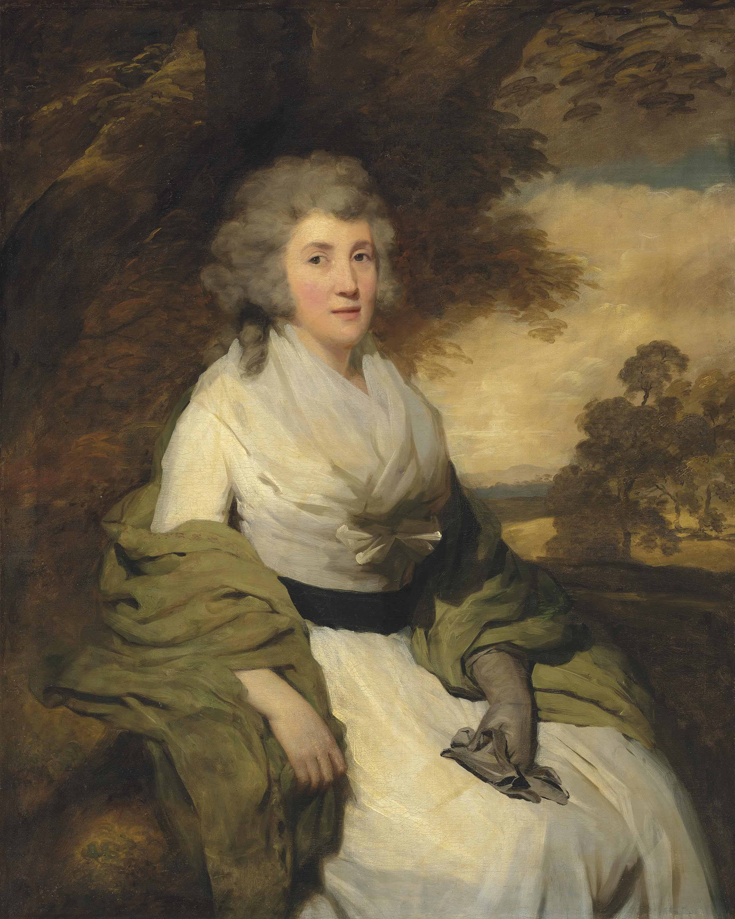 Portrait of Henrietta, Mrs. John Parish (1745-1810), three-quarter-length, seated in a landscape, wearing a white dress with a green shawl and gloves