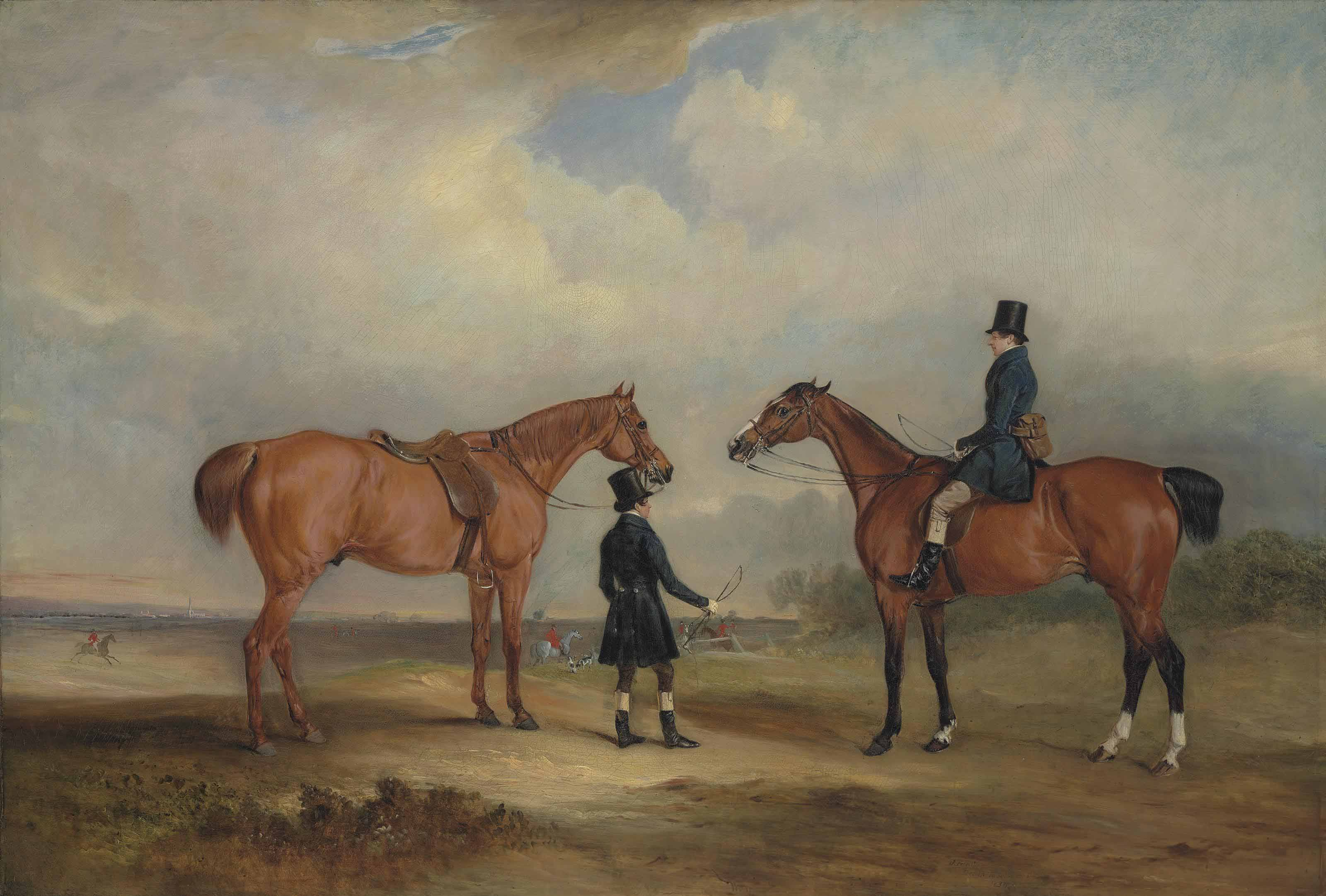 Two gentlemen, one leading a chestnut hunter, the other on a bay hunter, in an extensive landscape with a hunt, a church spire beyond