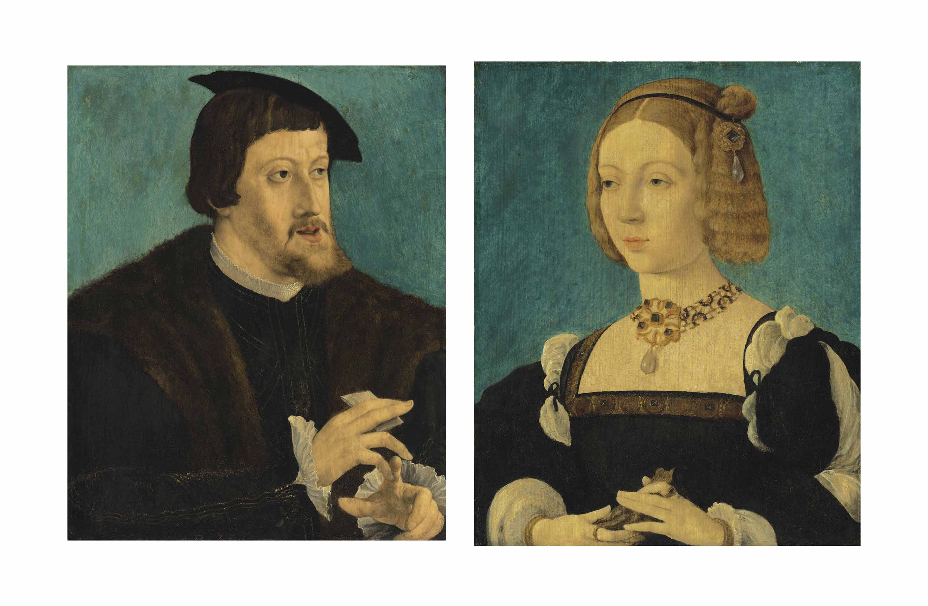 Portrait of the Charles V, Holy Roman Emperor (1500-1558); and Portrait of his wife, Isabella of Portugal (1503-1539)