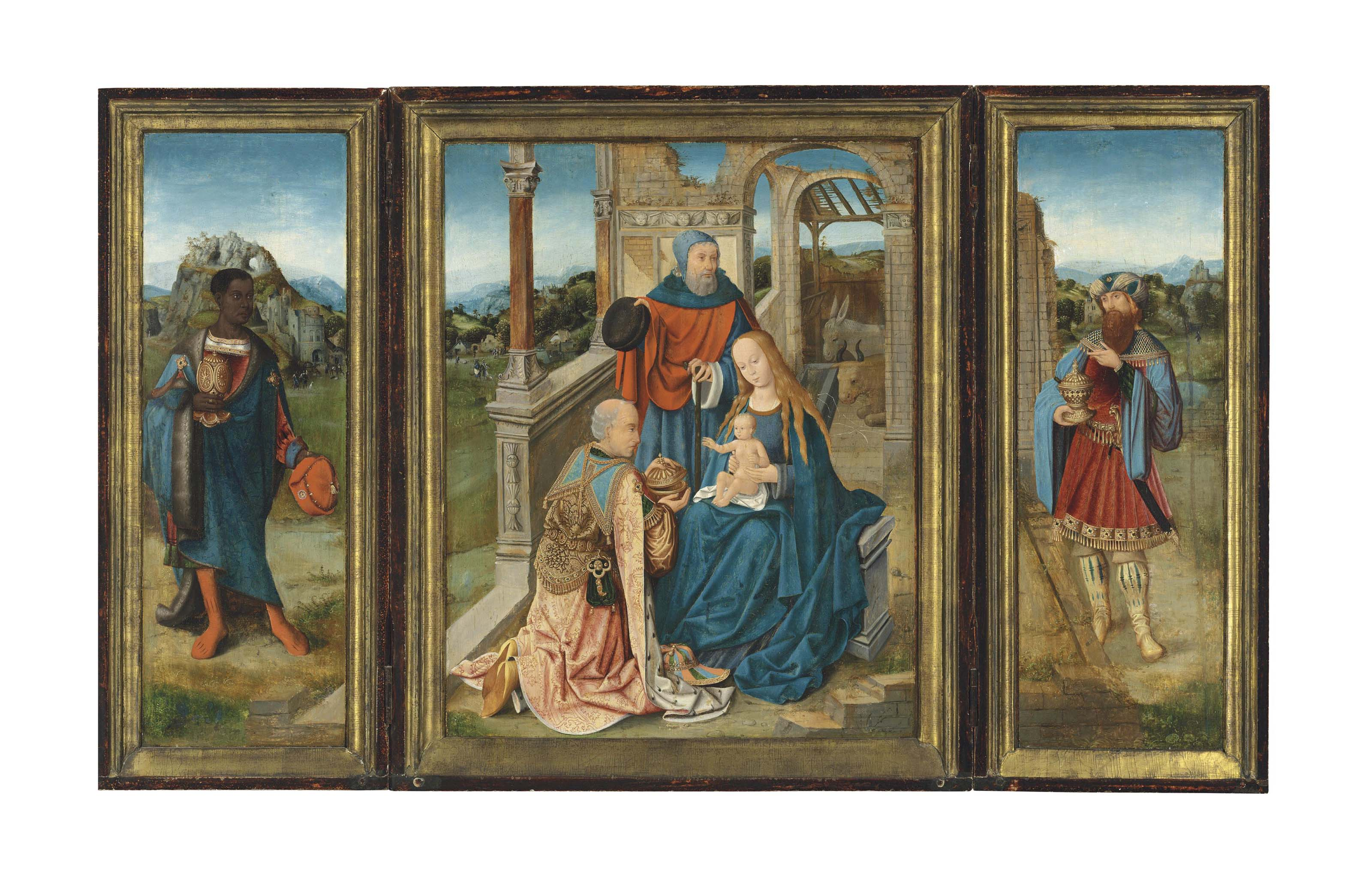 A triptych: The Adoration of the Magi