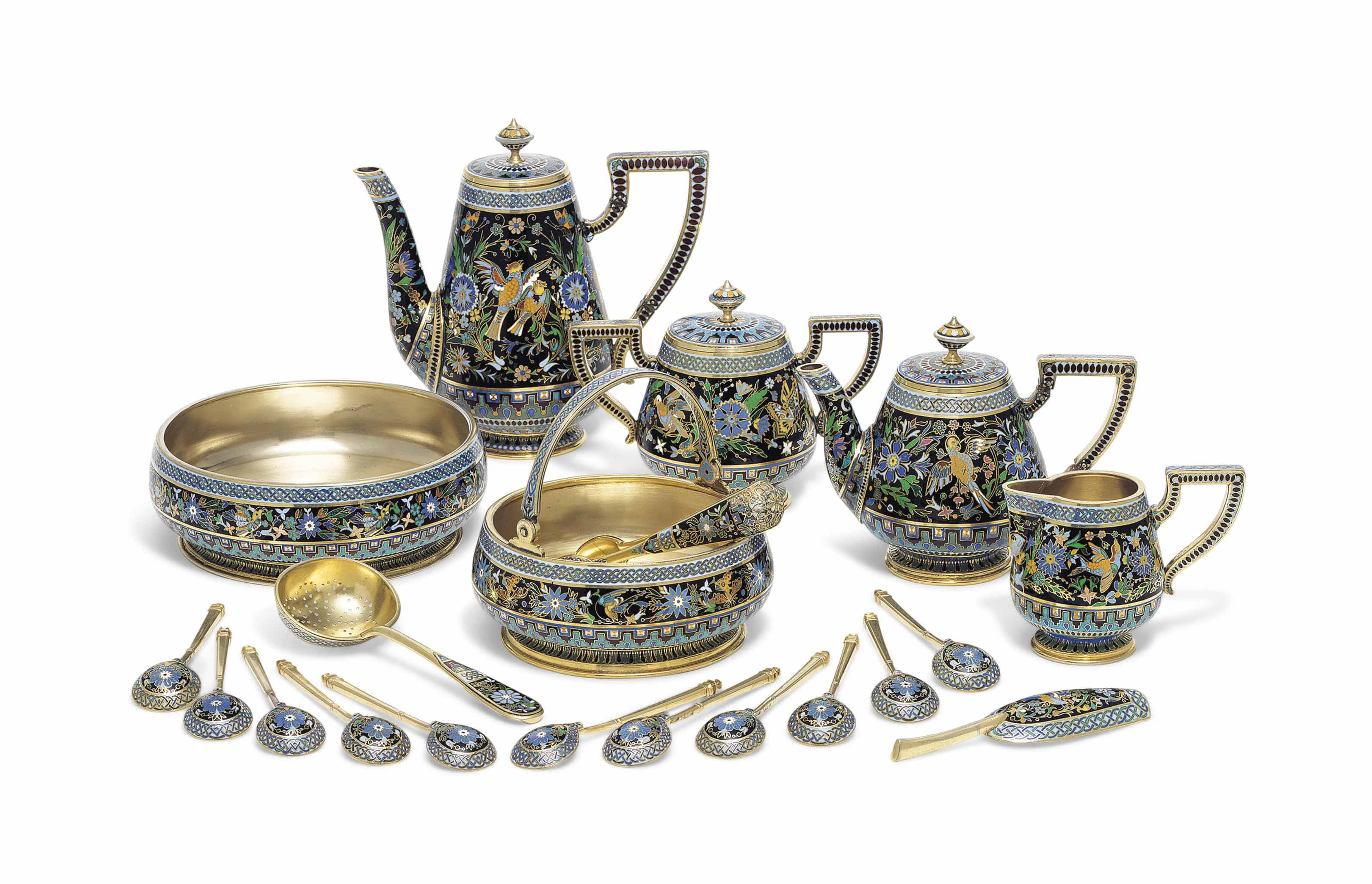 A SILVER-GILT AND CHAMPLEVÉ ENAMEL COFFEE AND TEA-SERVICE
