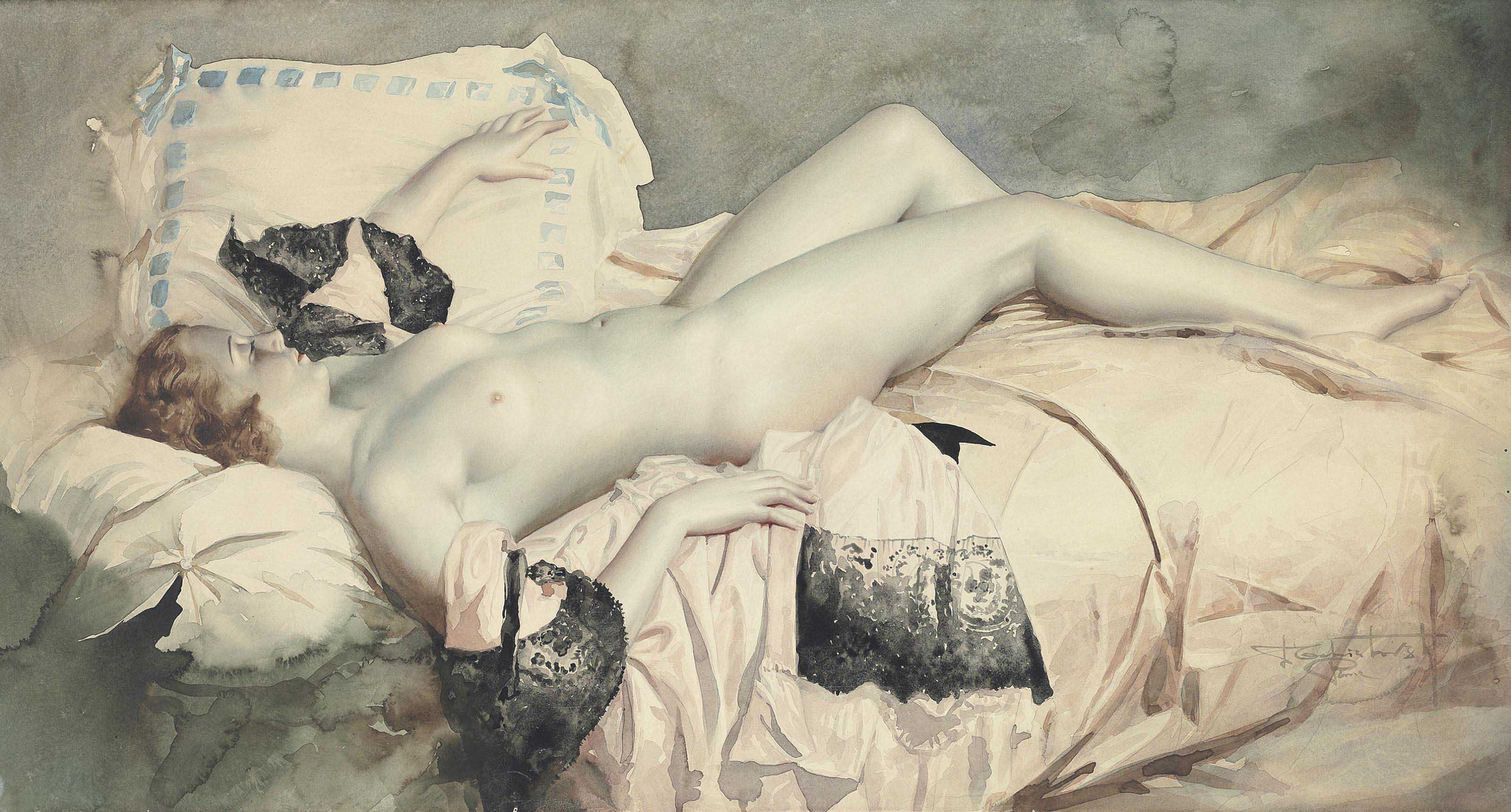 Reclining nude in black lace negligee