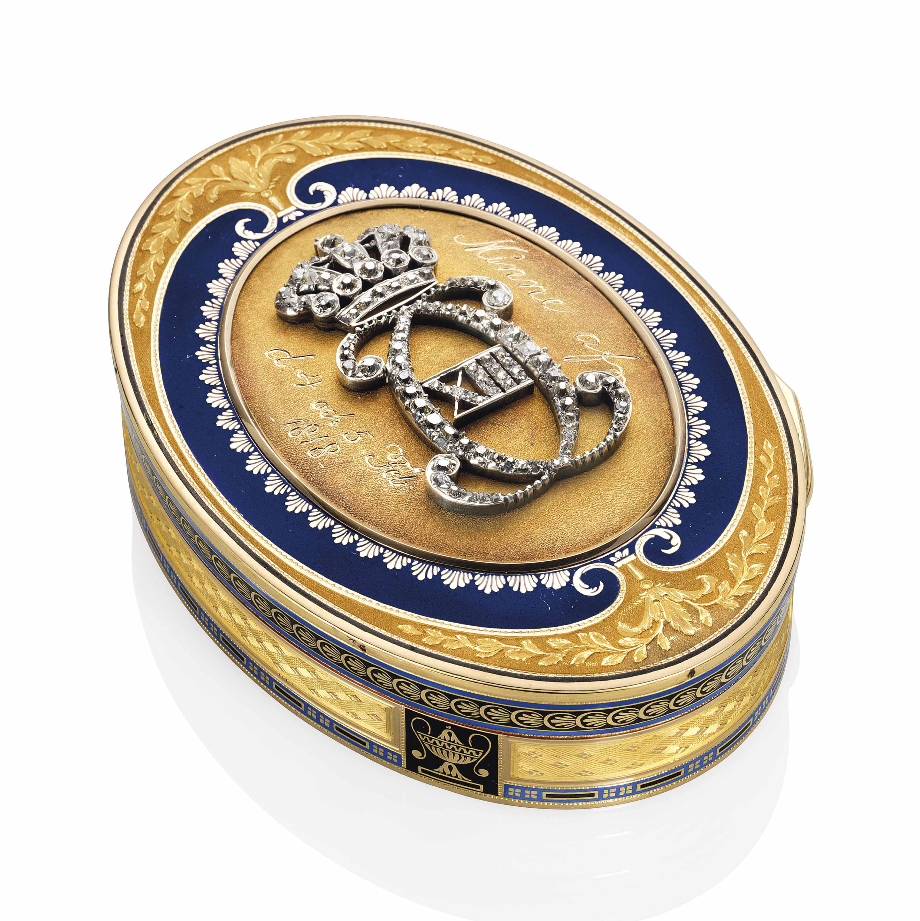 A FRENCH ROYAL JEWELLED PARCEL-ENAMELLED GOLD PRESENTATION SNUFF-BOX