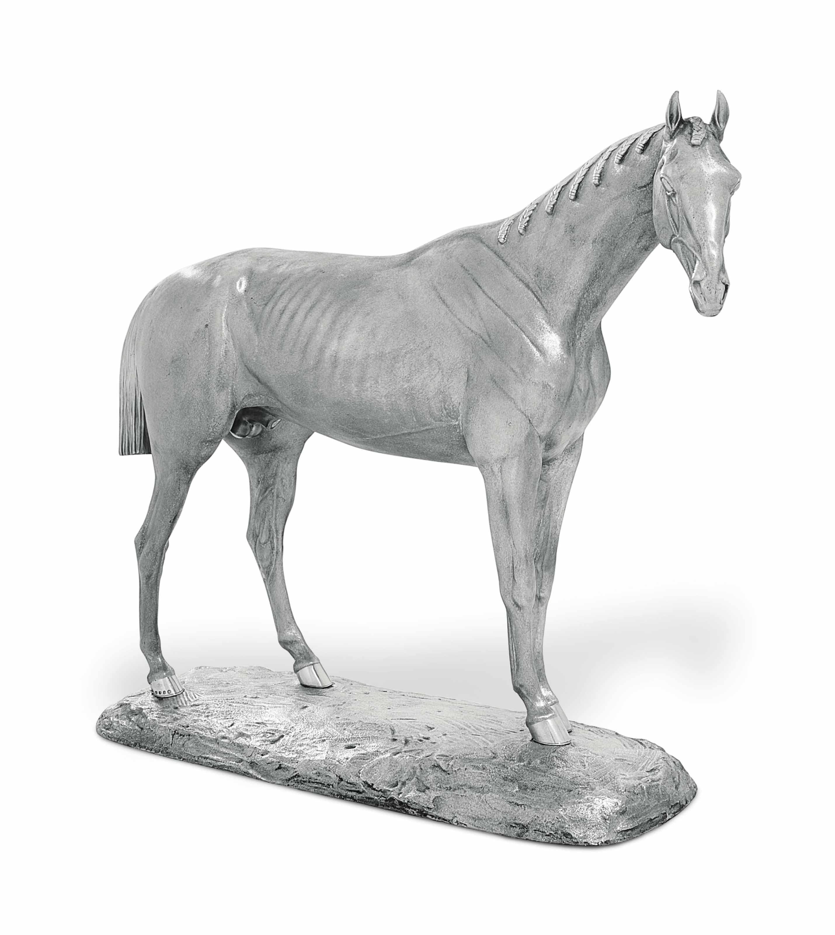 THE GOODWOOD CUP OF 1860 WON BY SWEETSAUCE A VICTORIAN SILVER MODEL OF A STANDING HORSE