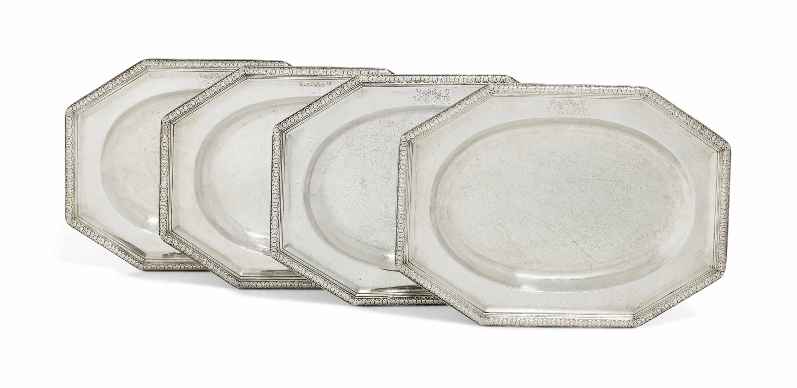 TWO PAIRS OF GEORGE II SILVER MEAT-DISHES