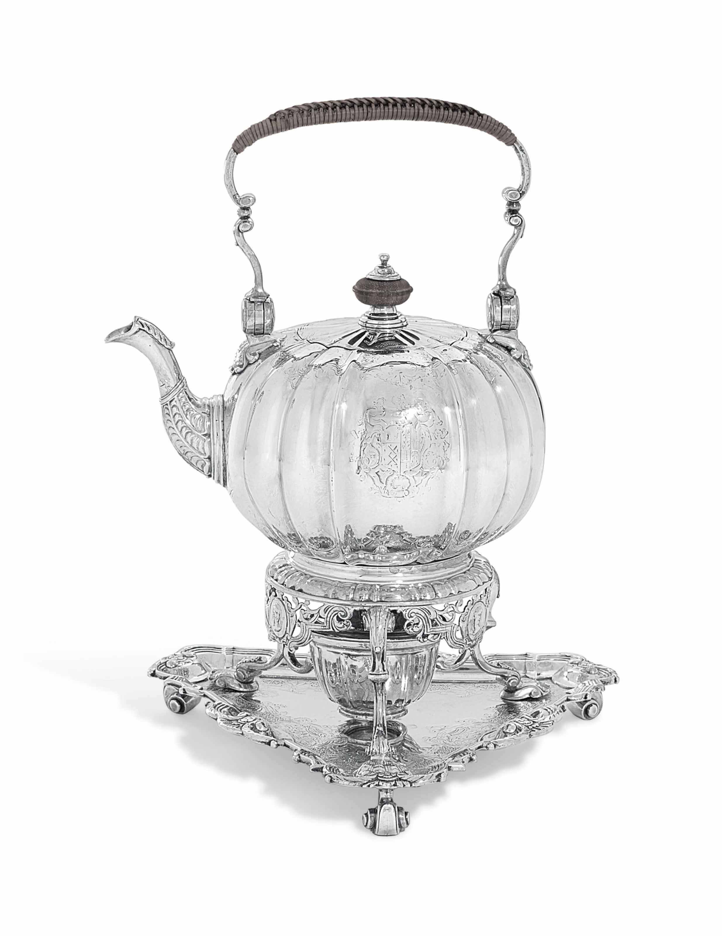 A GEORGE II SILVER KETTLE, STAND AND LAMP ON SALVER