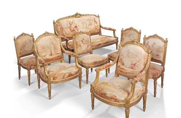A french giltwood and tapestry seven piece salon suite for 212 salon st louis