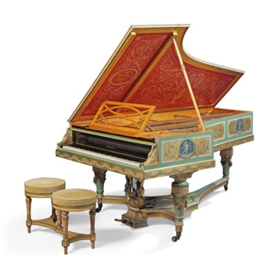 A Napoleon Iii Giltwood, Polychrome Painted And Satinwood Piano A