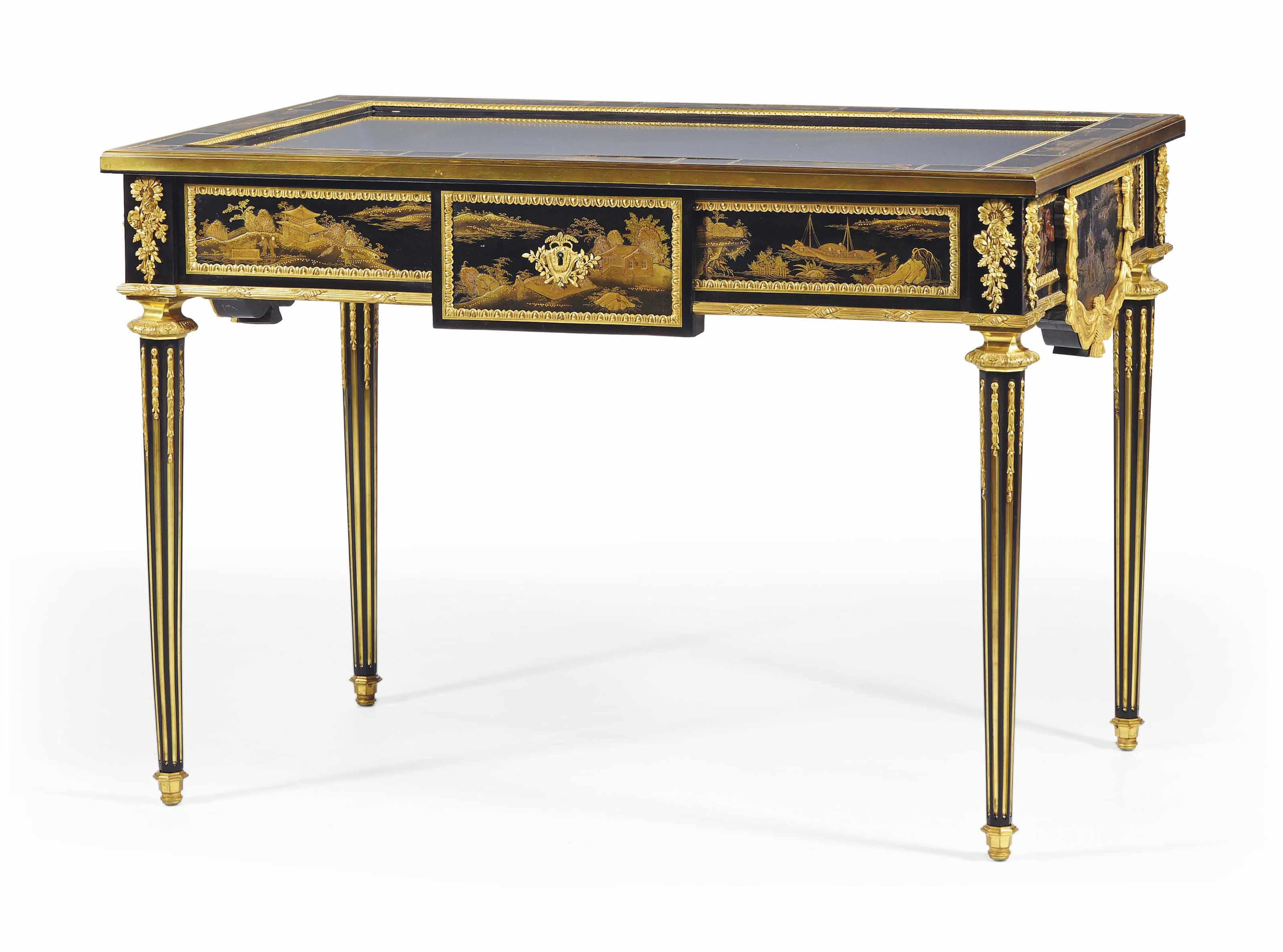 A FRENCH ORMOLU-MOUNTED LACQUER AND EBONISED VITRINE TABLE