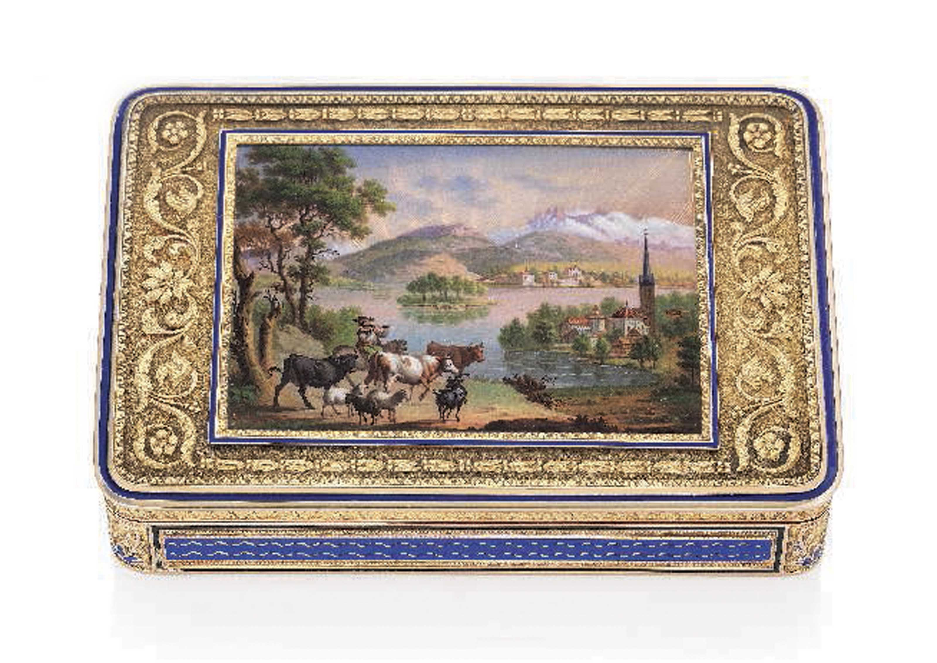 A SWISS ENAMELLED GOLD SNUFF-BOX SET WITH AN ENAMEL MINIATURE
