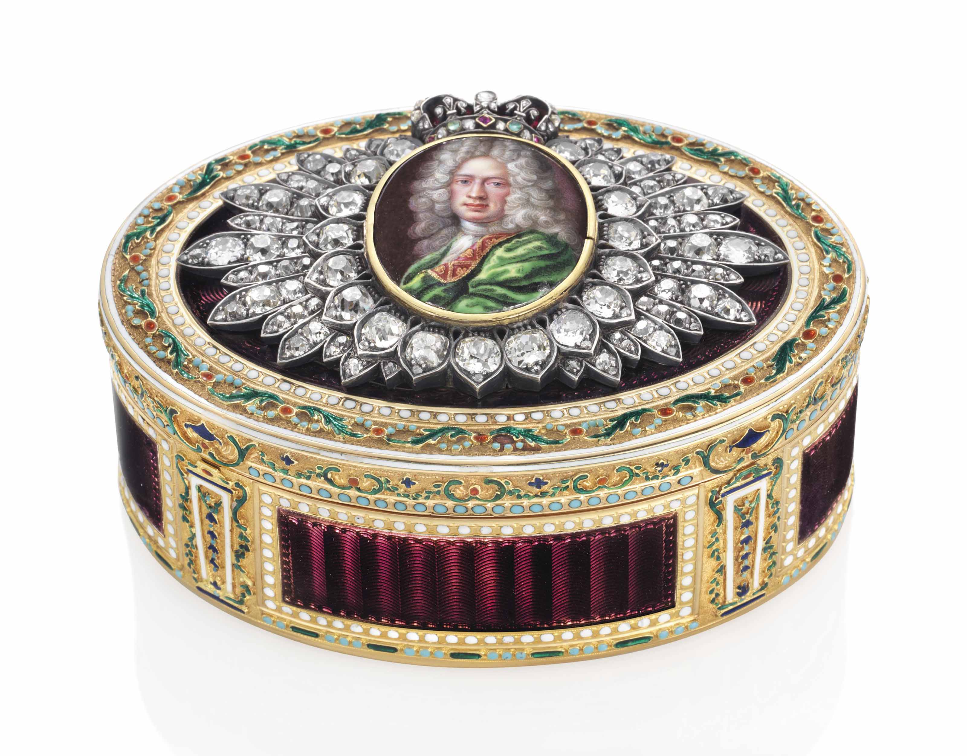 A LOUIS XVI JEWELLED ENAMELLED GOLD PRESENTATION SNUFF-BOX