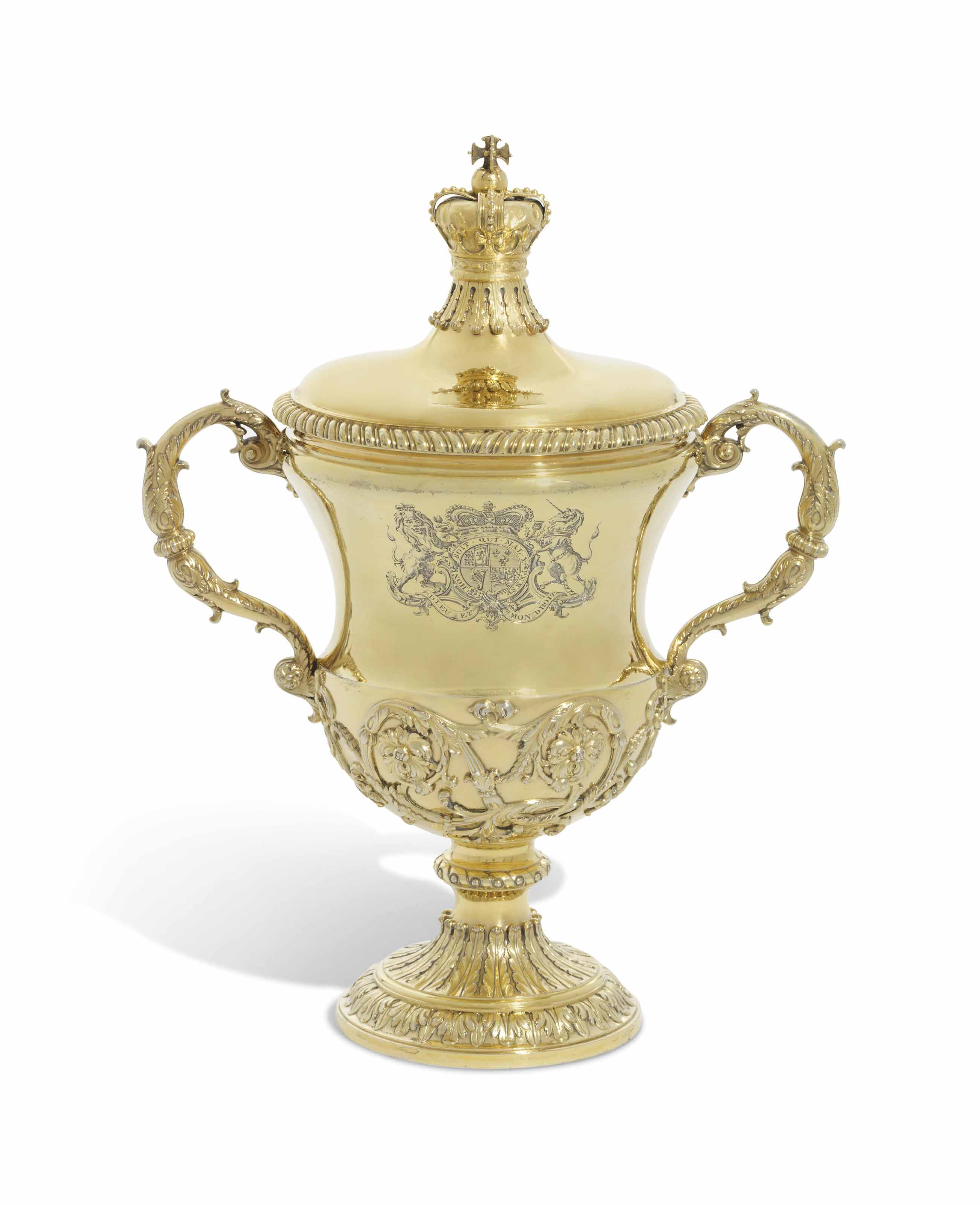 A GEORGE II SILVER-GILT CUP AND COVER